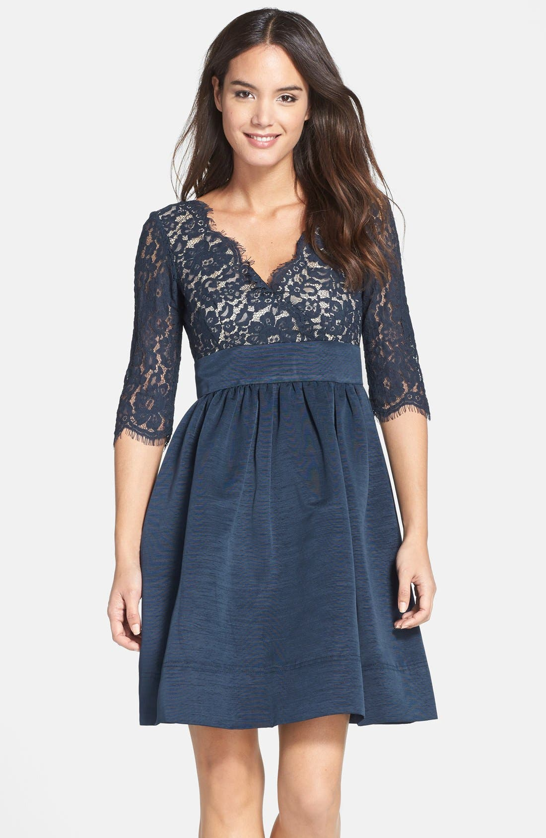 Eliza J Lace & Faille Dress (Regular & Petite)
