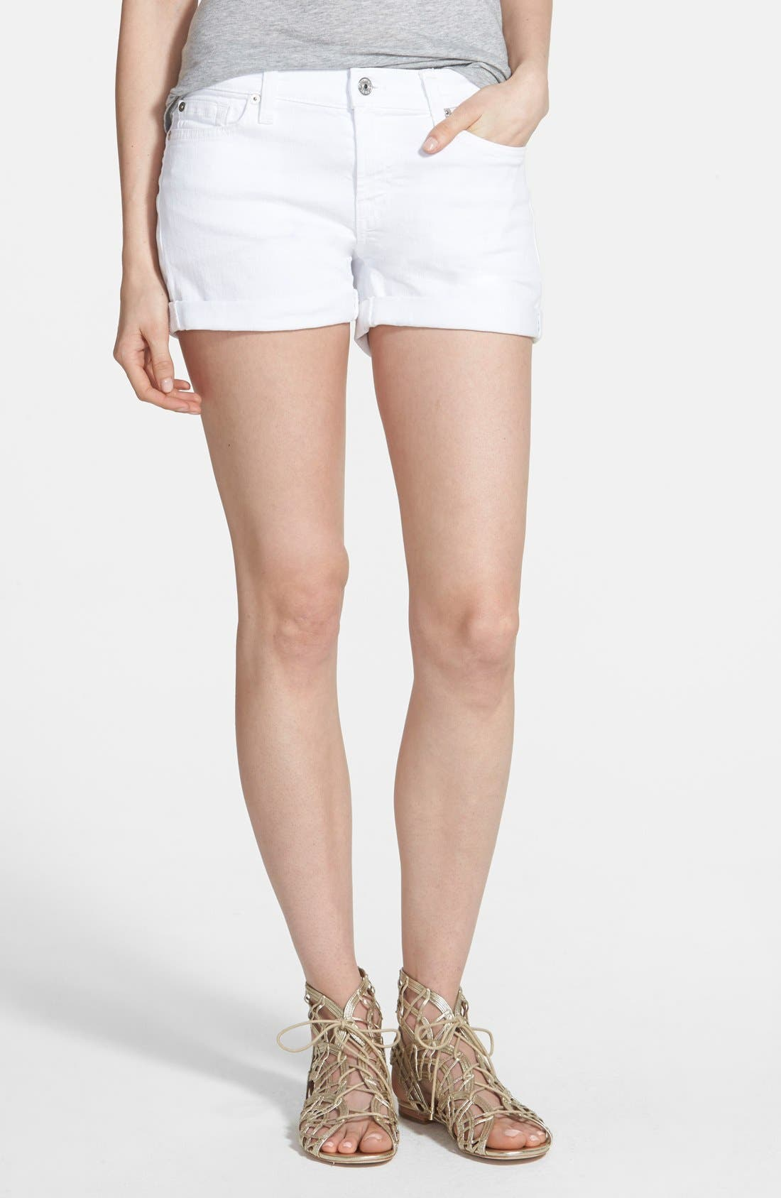 7 For All Mankind® Cuffed Denim Shorts (Clean White)