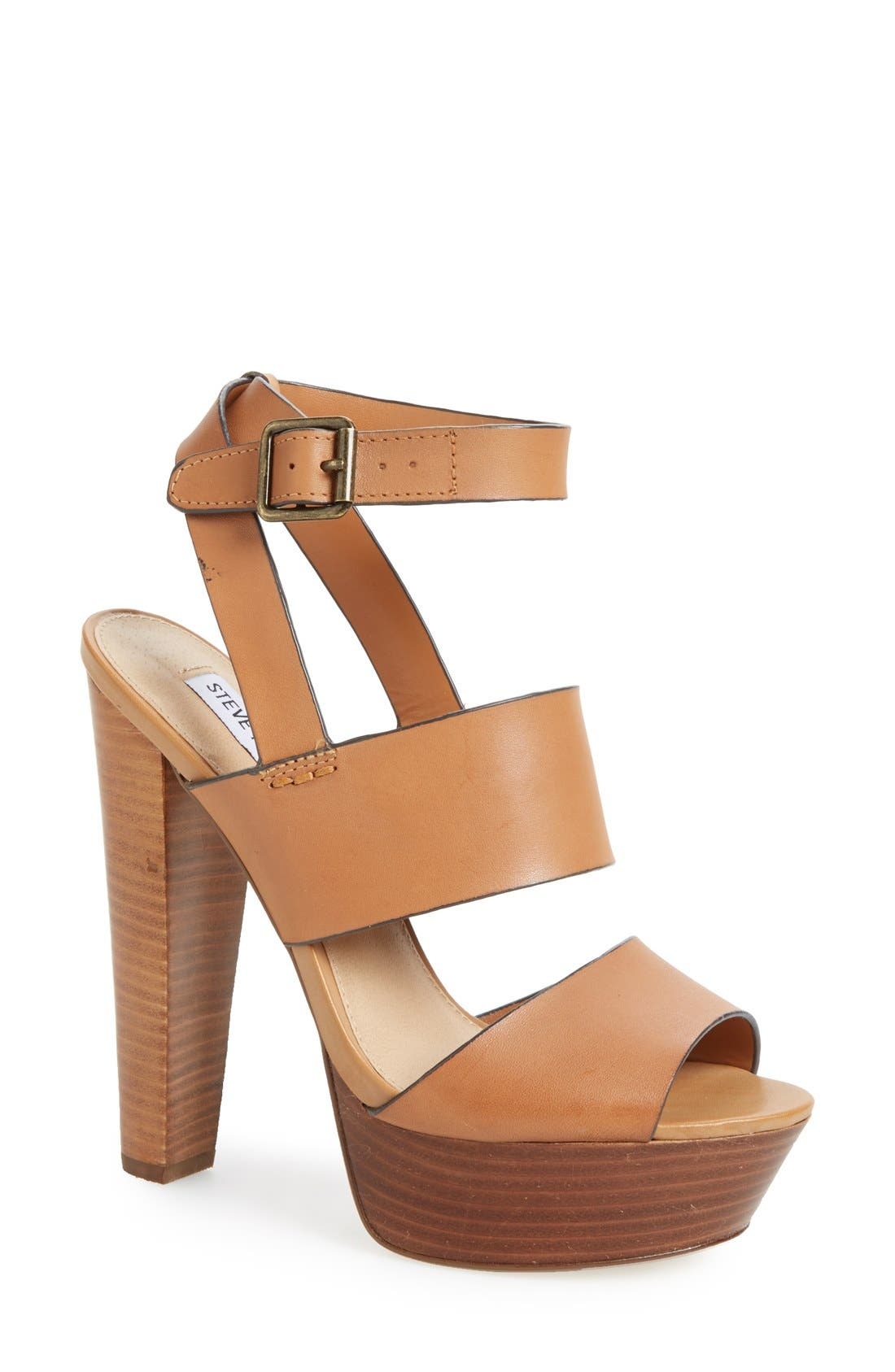 Alternate Image 1 Selected - Steve Madden 'Dezzzy' Leather Ankle Strap Sandal (Women)