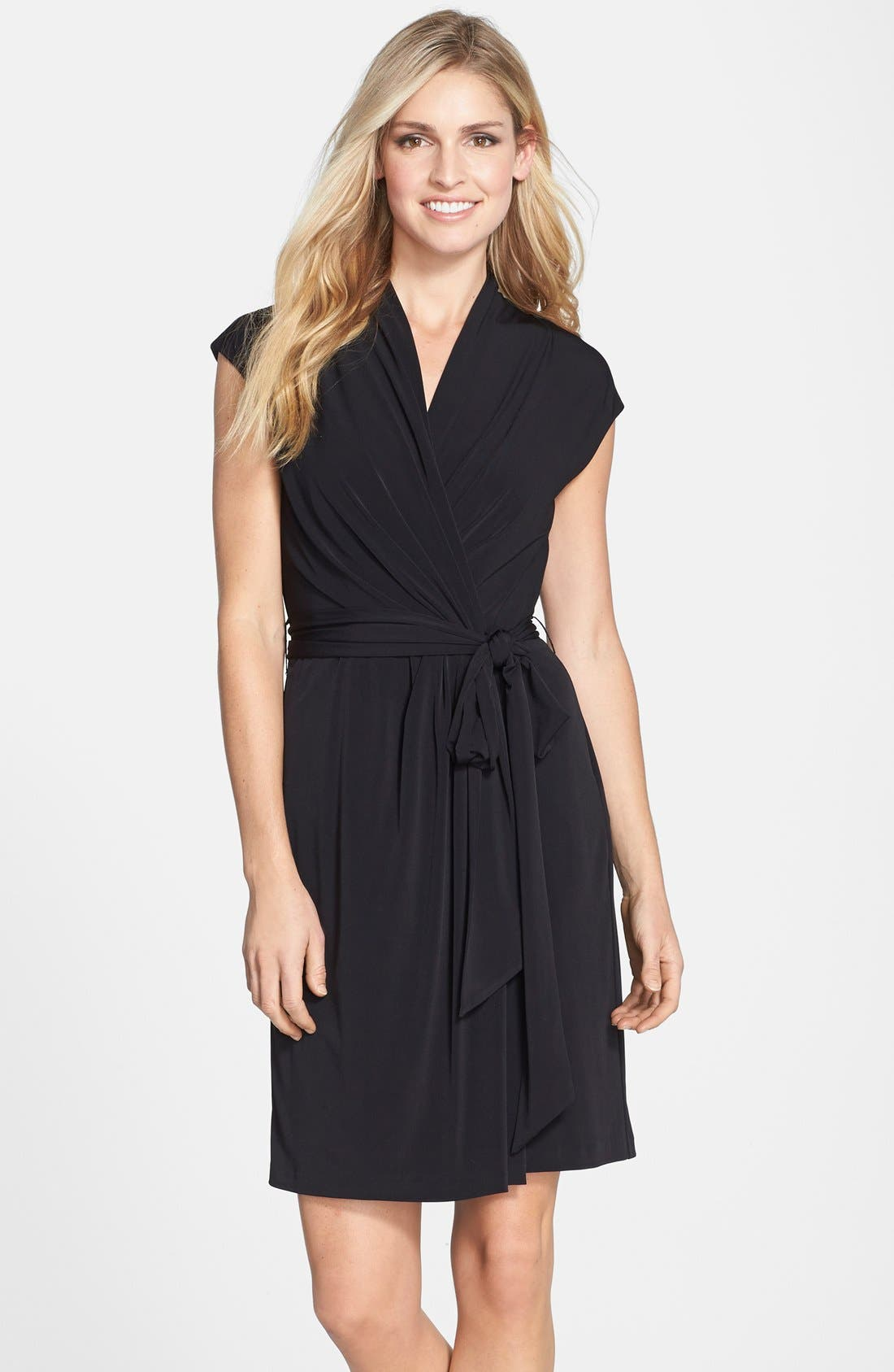 Main Image - Eliza J Cap Sleeve Faux Wrap Jersey Dress (Online Only)