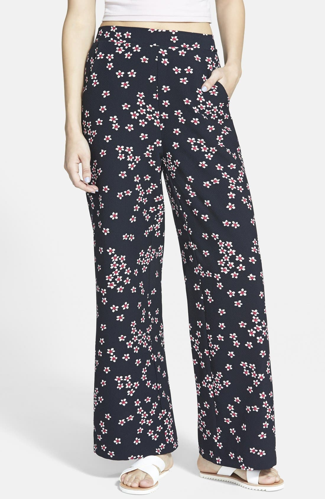 Alternate Image 1 Selected - Sugarhill Boutique Floral Print Palazzo Pants (Juniors)
