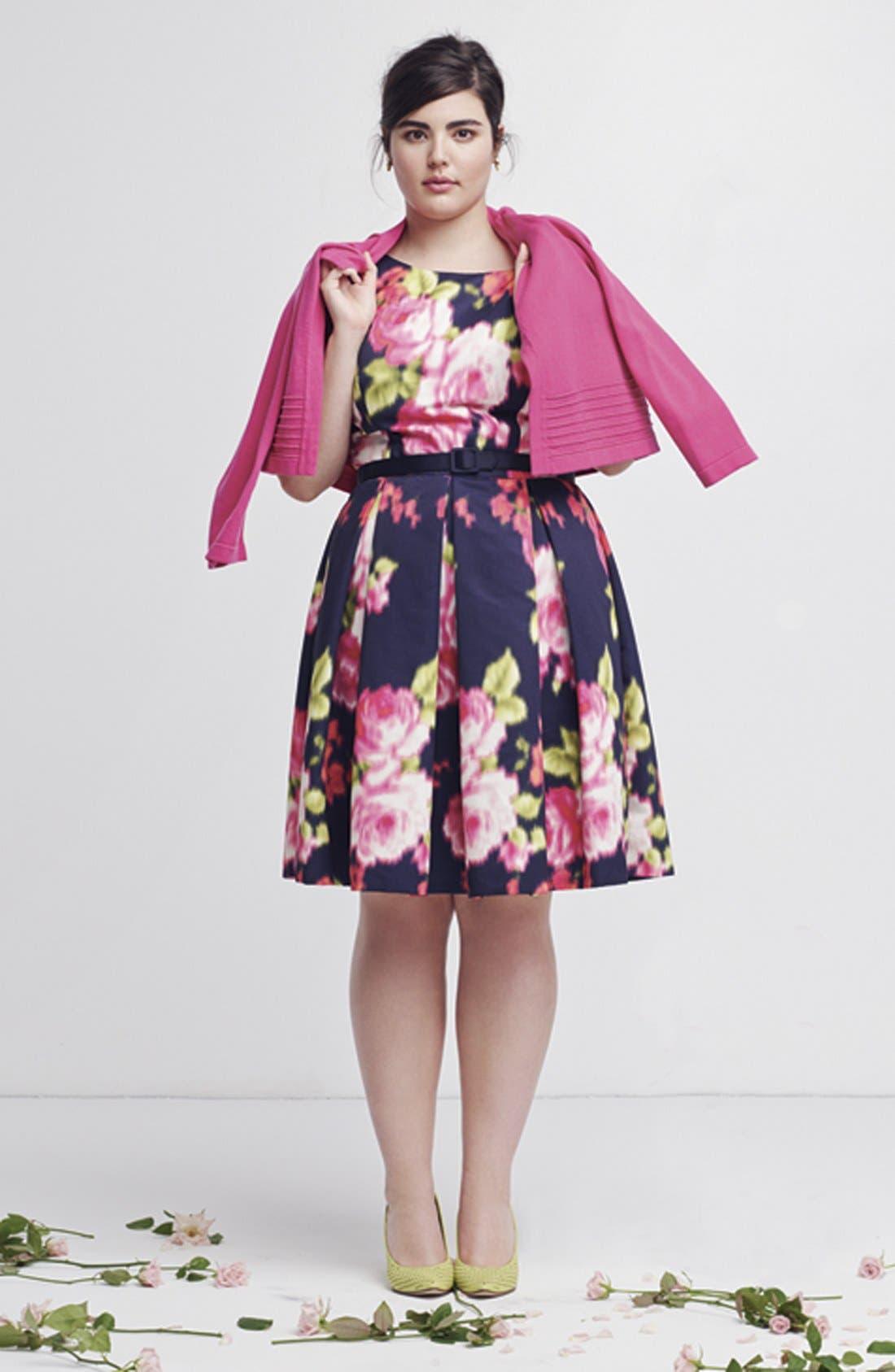 Alternate Image 5  - Eliza J Floral Print Cap Sleeve Fit & Flare Dress (Plus Size)