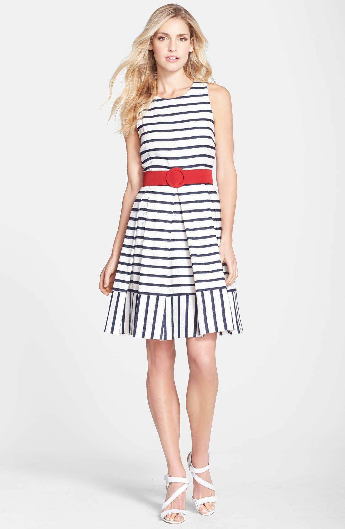 Alternate Image 3  - Eliza J Belted Stripe Fit & Flare Dress (Regular & Petite)