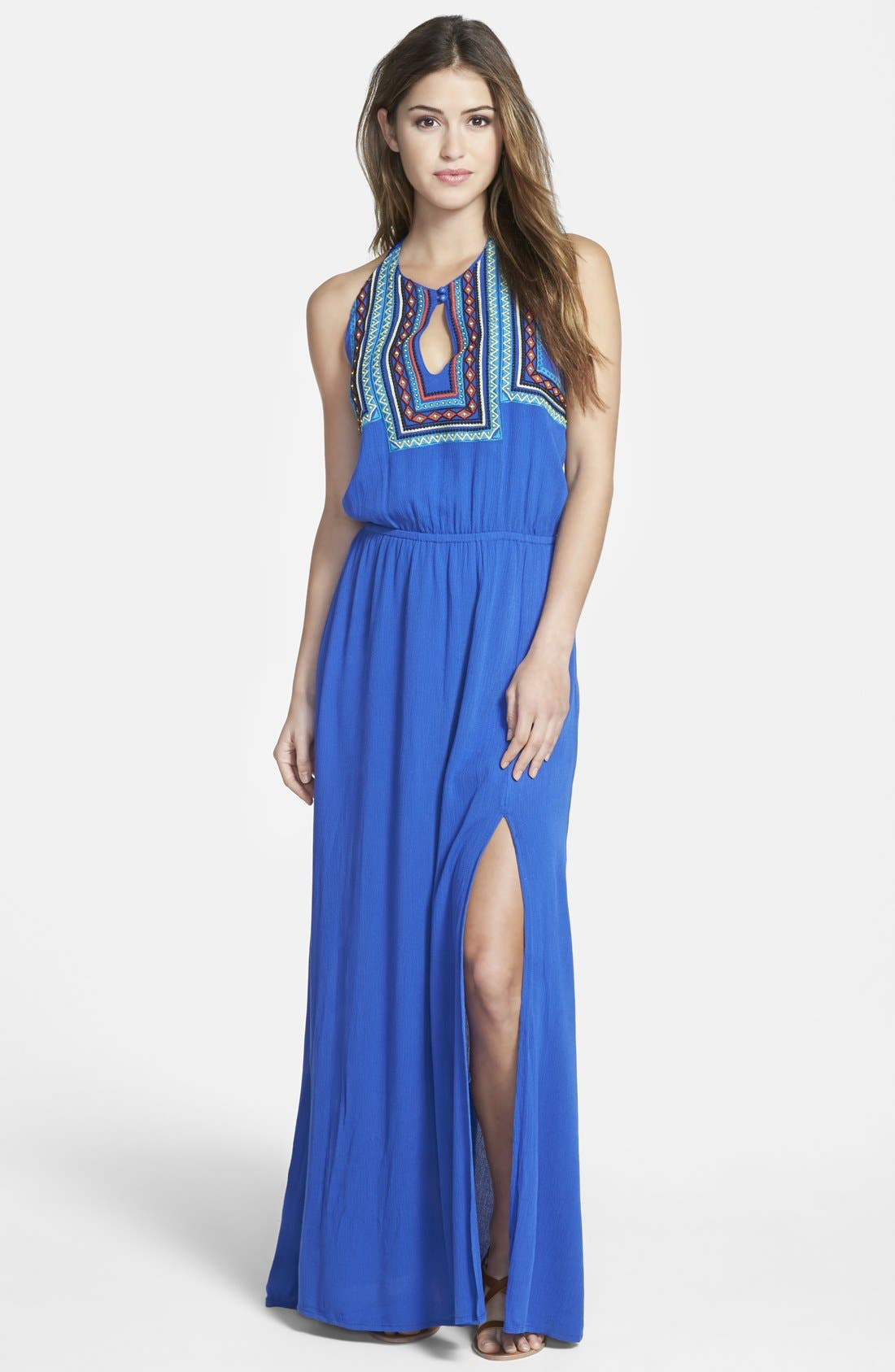 Main Image - Miss Me Embroidered Halter Maxi Dress