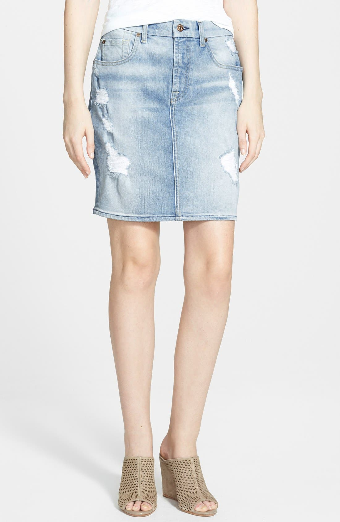 Main Image - 7 For All Mankind® Destroyed Mid Rise Denim Pencil Skirt (Light Sky Blue)