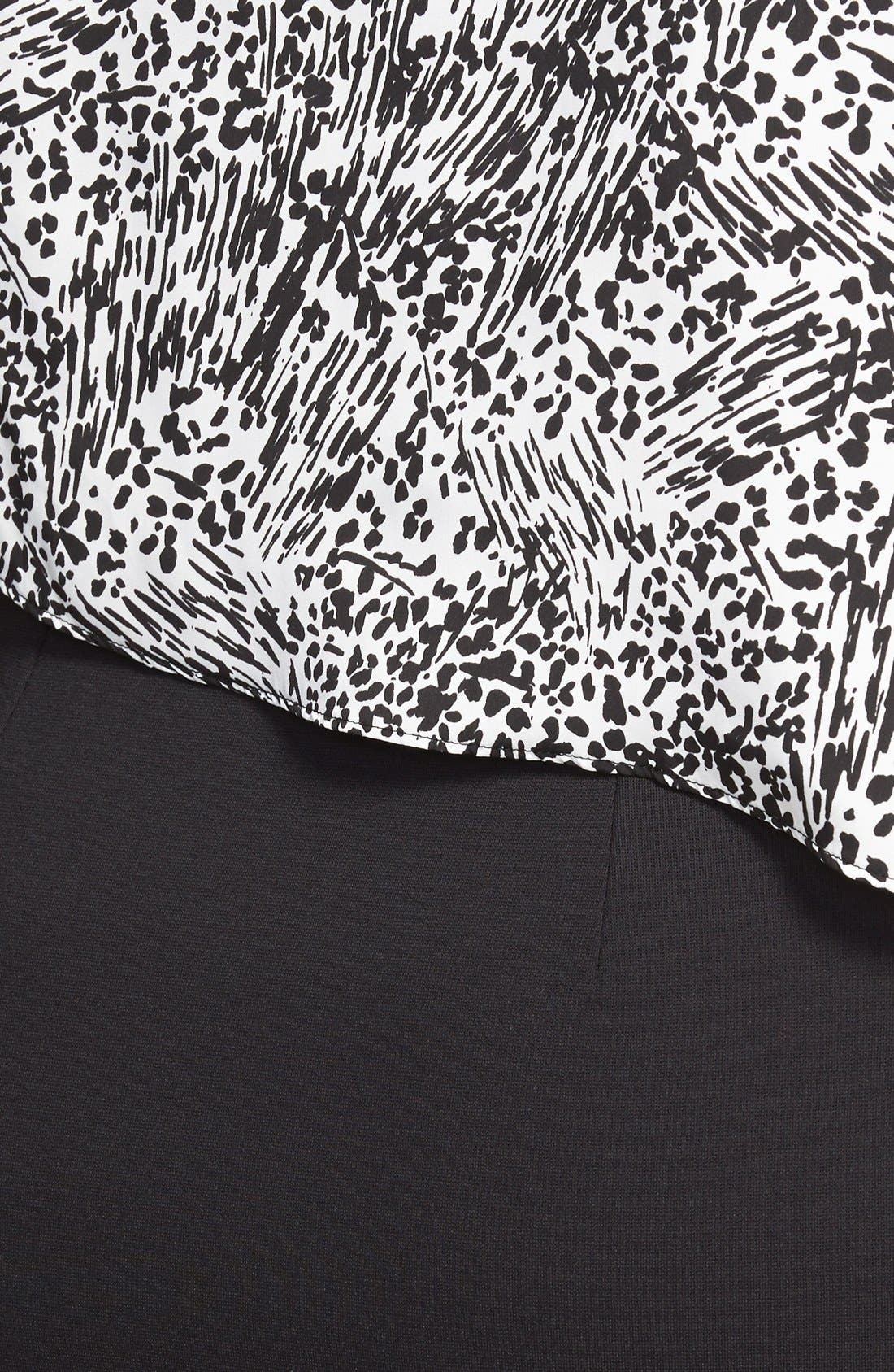 Alternate Image 3  - DKNYC Animal Print Overlay Ponte Sheath Dress (Plus Size)