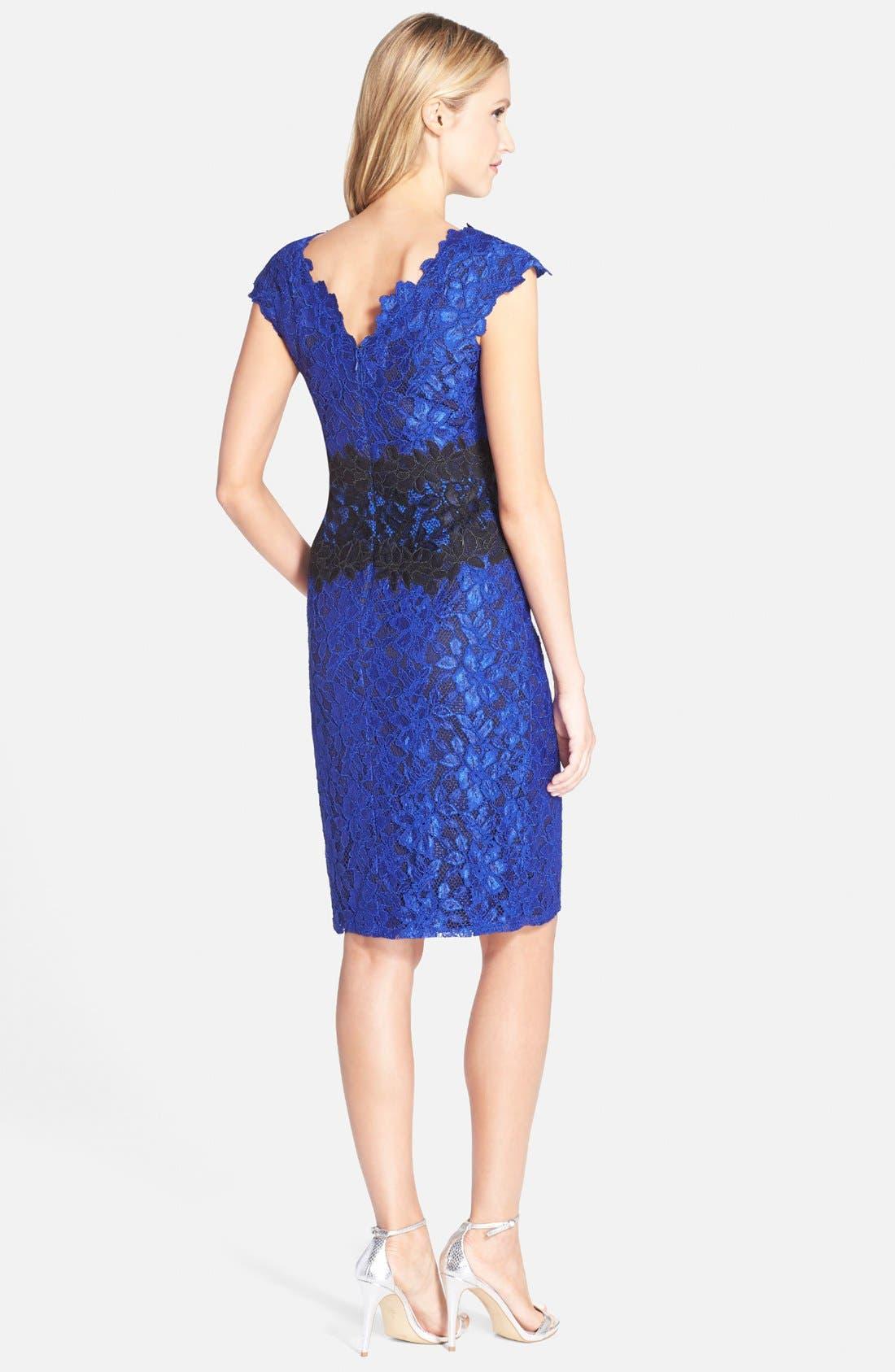 Alternate Image 2  - Tadashi Shoji Two-Tone Lace Sheath Dress