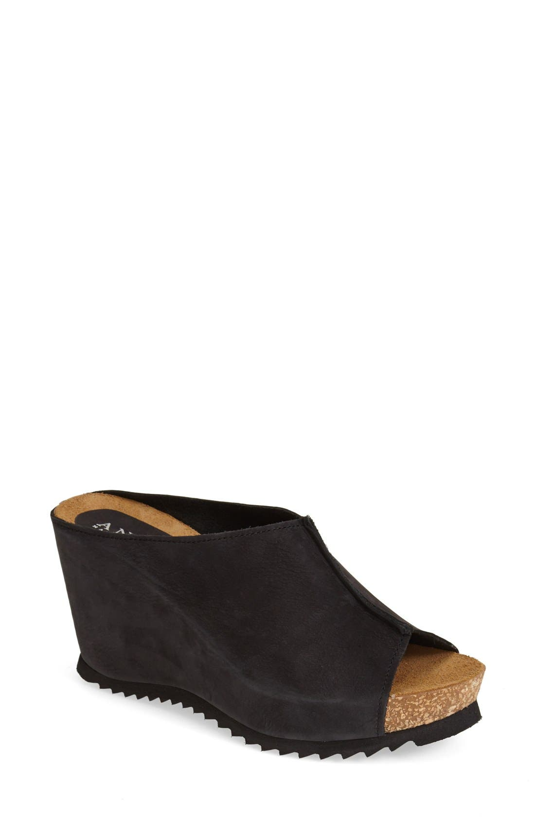 Main Image - Anyi Lu 'Sara' Nubuck Leather Peep Toe Mule Wedge (Women)