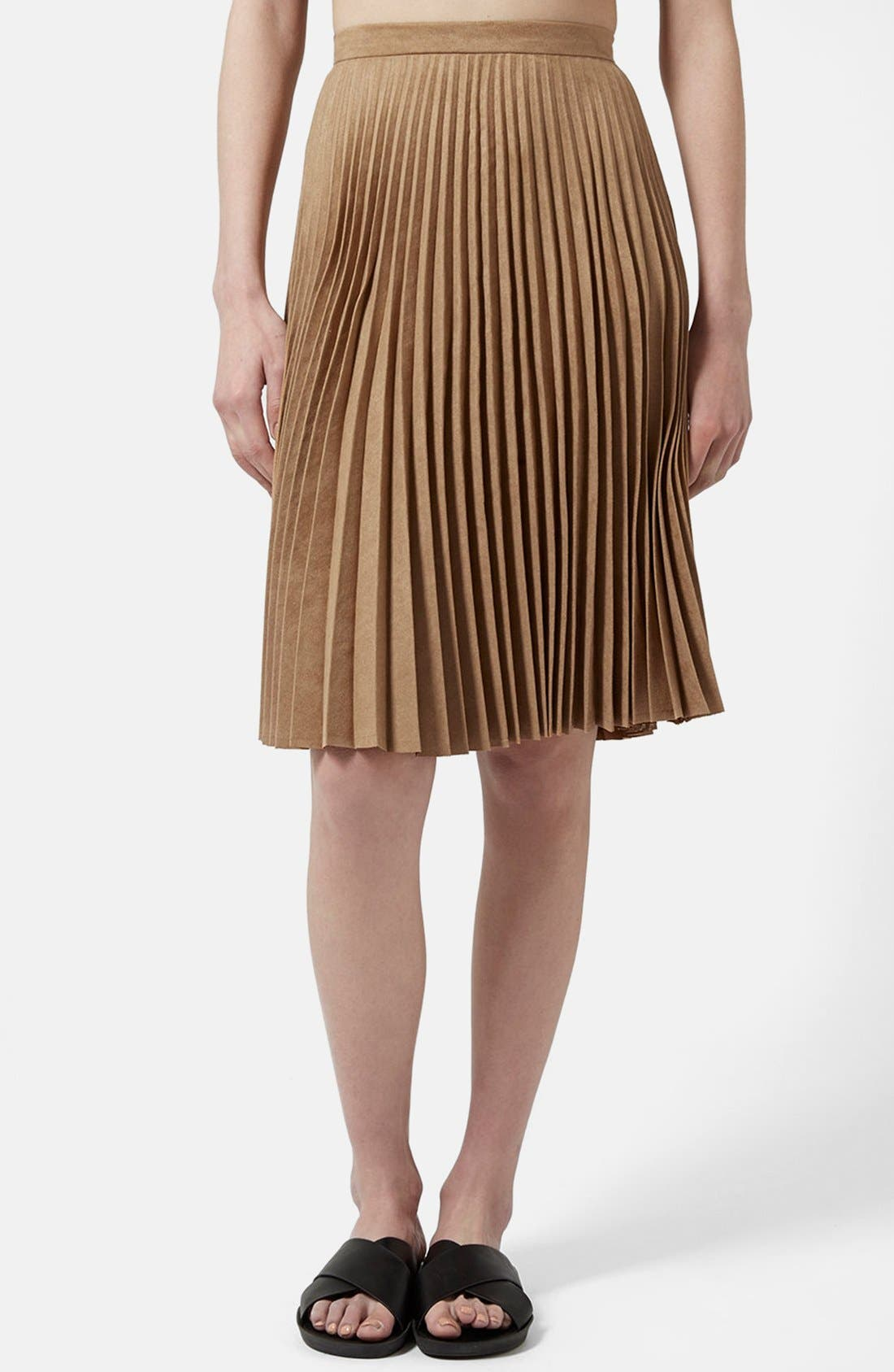 Main Image - Topshop Pleated Faux Suede Skirt