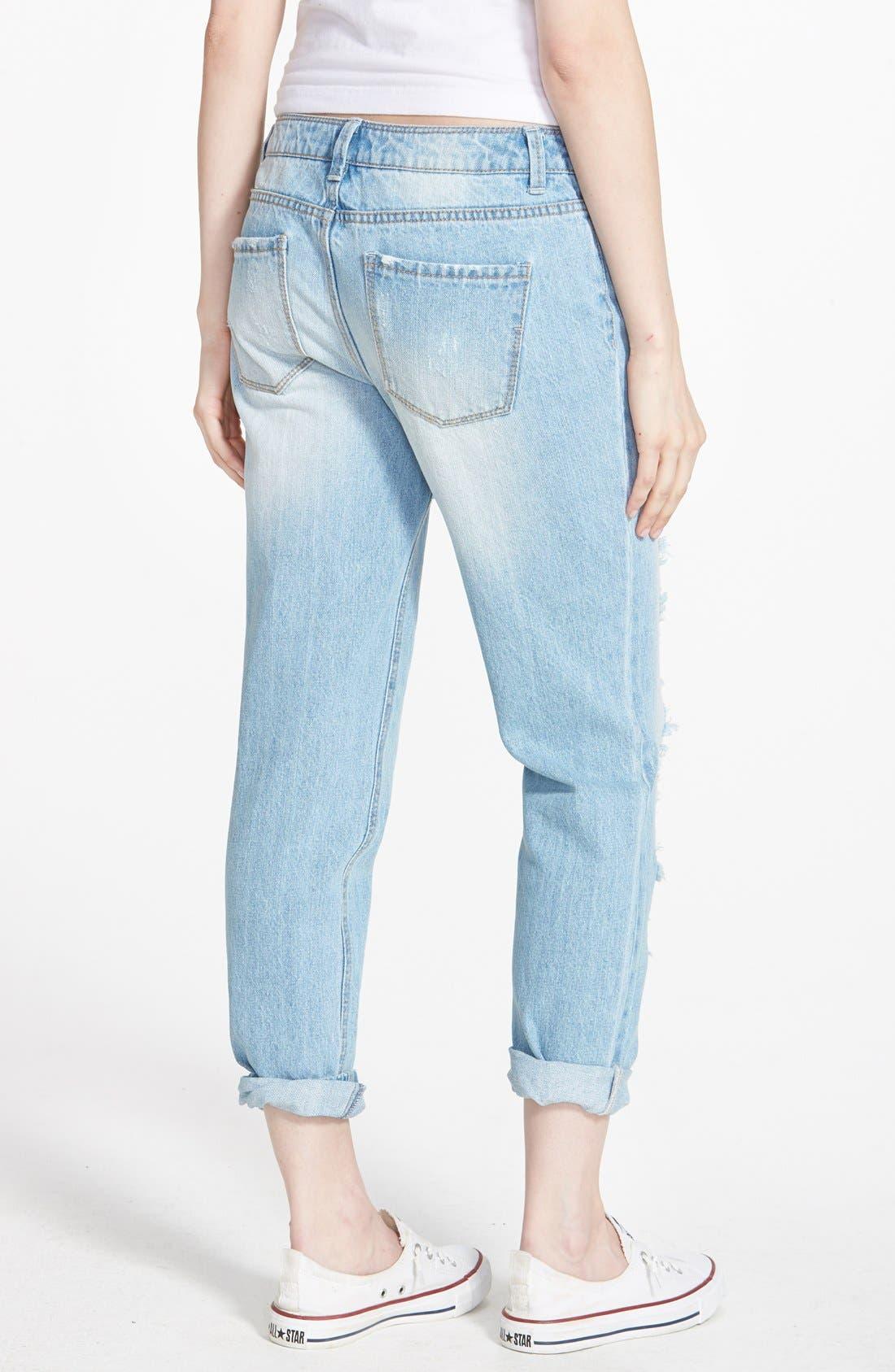 Alternate Image 2  - Generra Boyfriend Jeans (Blue)