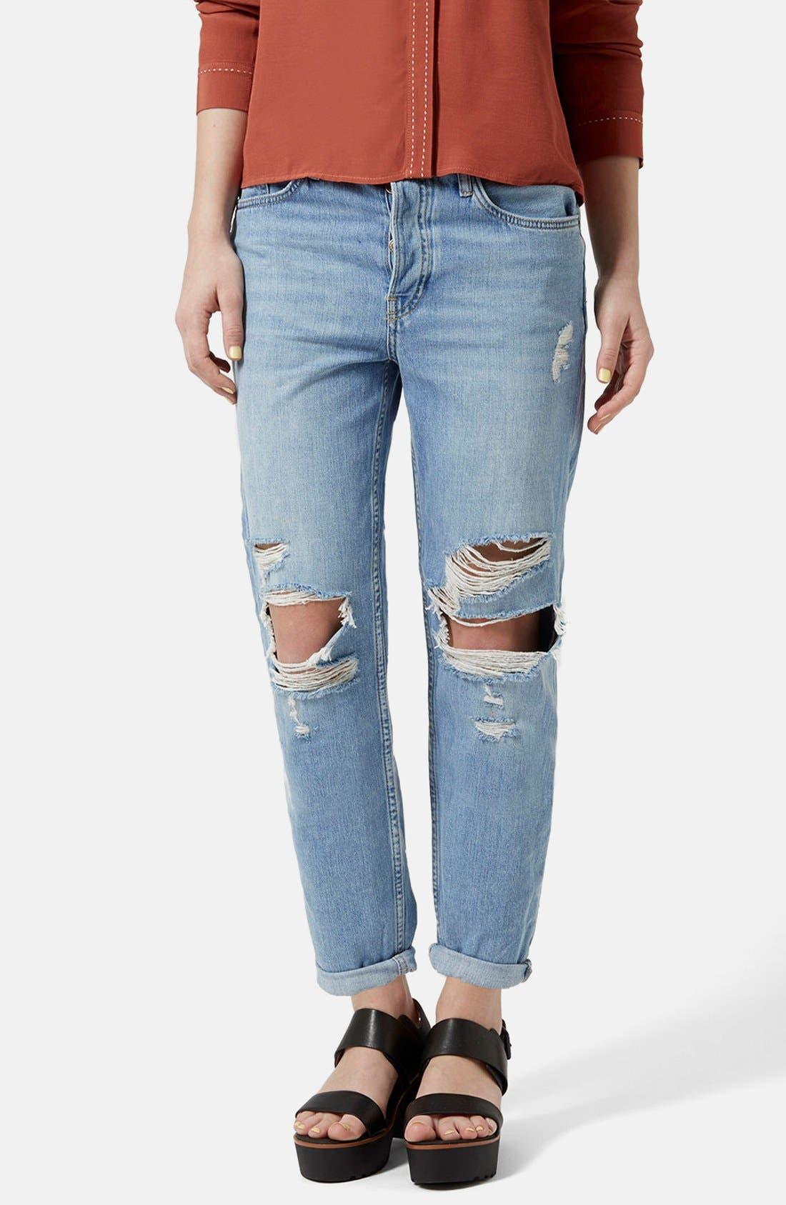 Alternate Image 1  - Topshop Moto 'Hayden' Ripped Boyfriend Jeans (Light Denim) (Regular & Petite)