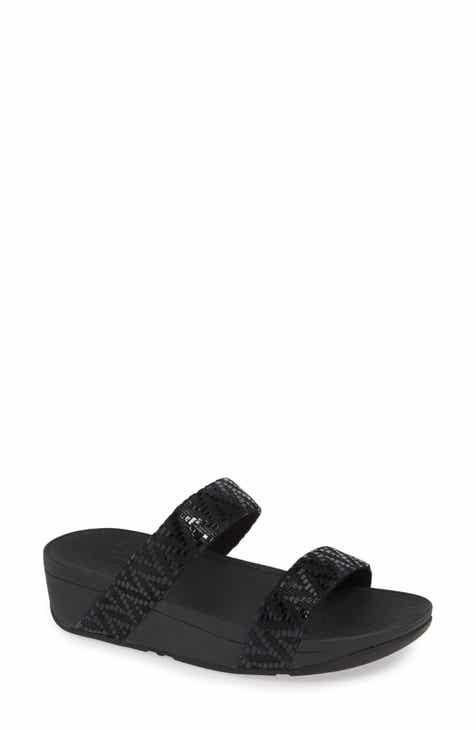 핏플랍 로티 웨지 슬라이드 - 블랙, 핑크 FitFlop Lottie Chevron Wedge Slide Sandal
