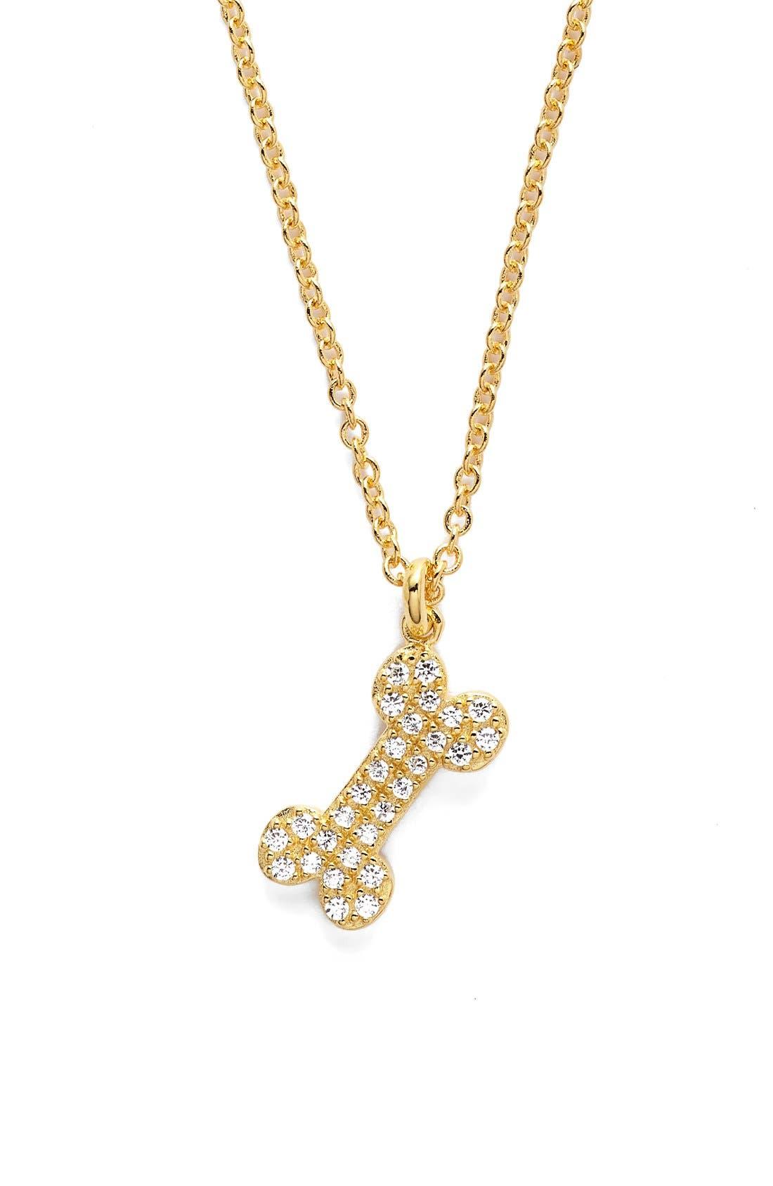 Alternate Image 1 Selected - Sugar Bean Jewelry Pavé Dog Bone Pendant Necklace