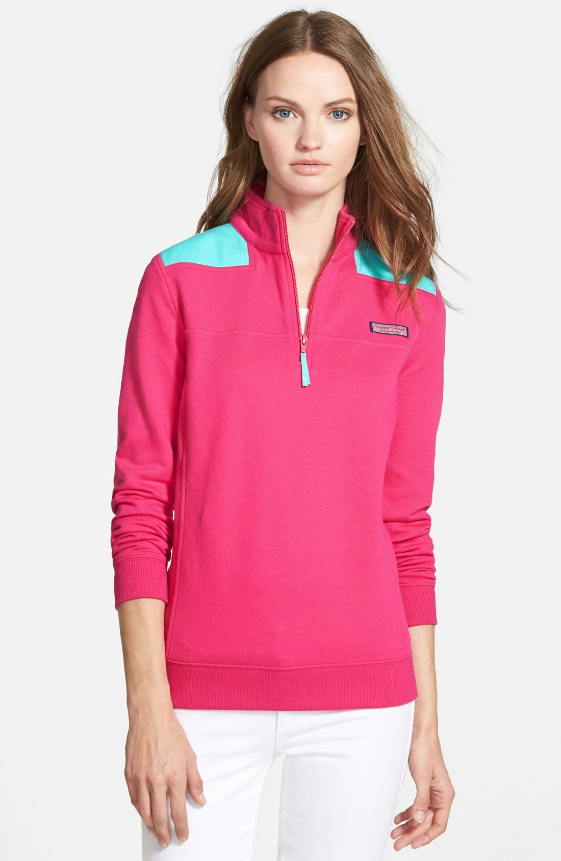 Alternate Image 1 Selected - Vineyard Vines 'Shep' Logo Quarter Zip Pullover