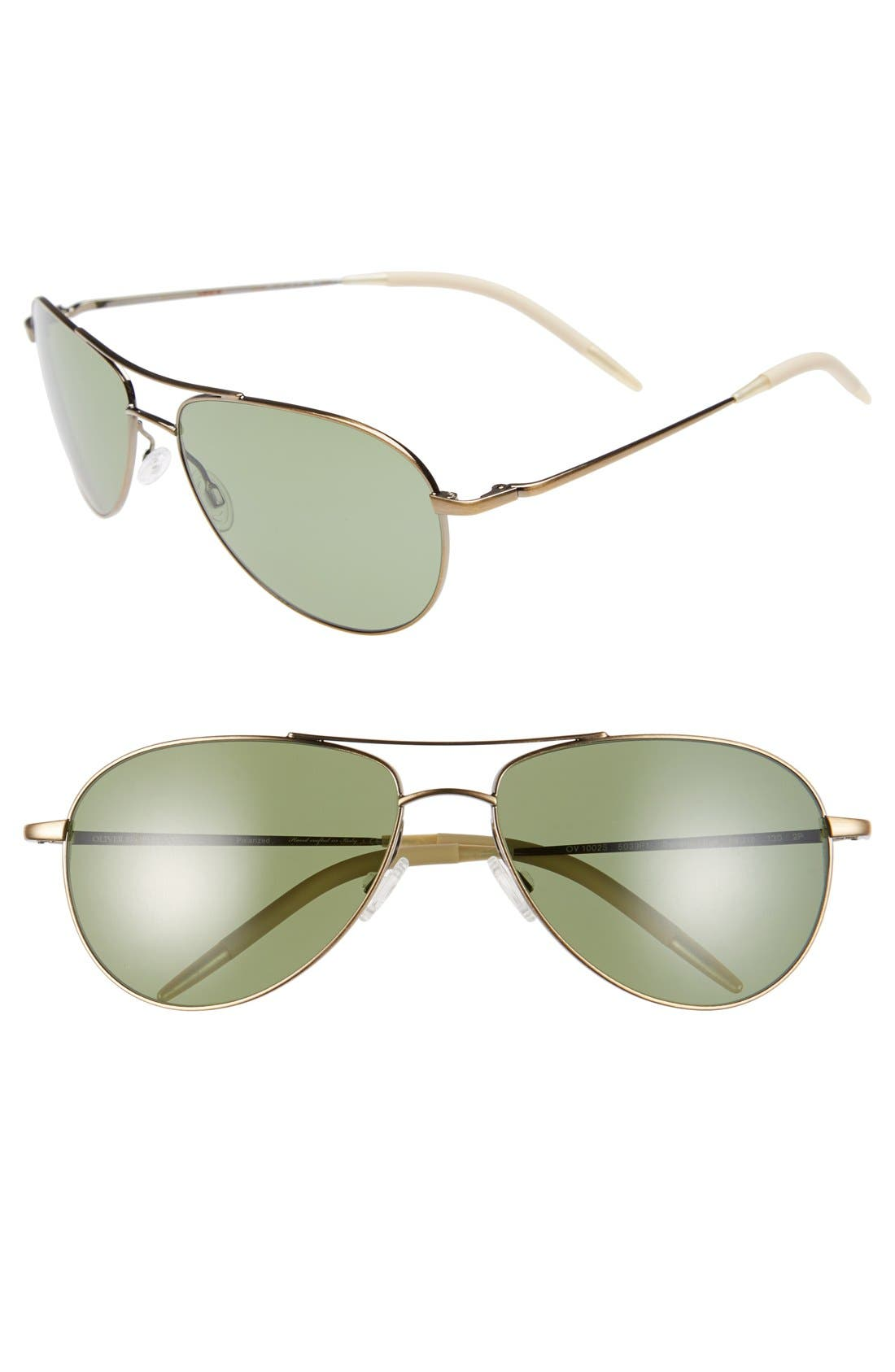 Main Image - Oliver Peoples 'Benedict' 59mm Polarized Aviator Sunglasses