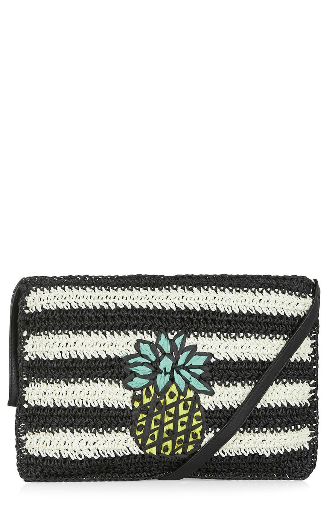 Main Image - Topshop 'Pineapple' Woven Clutch