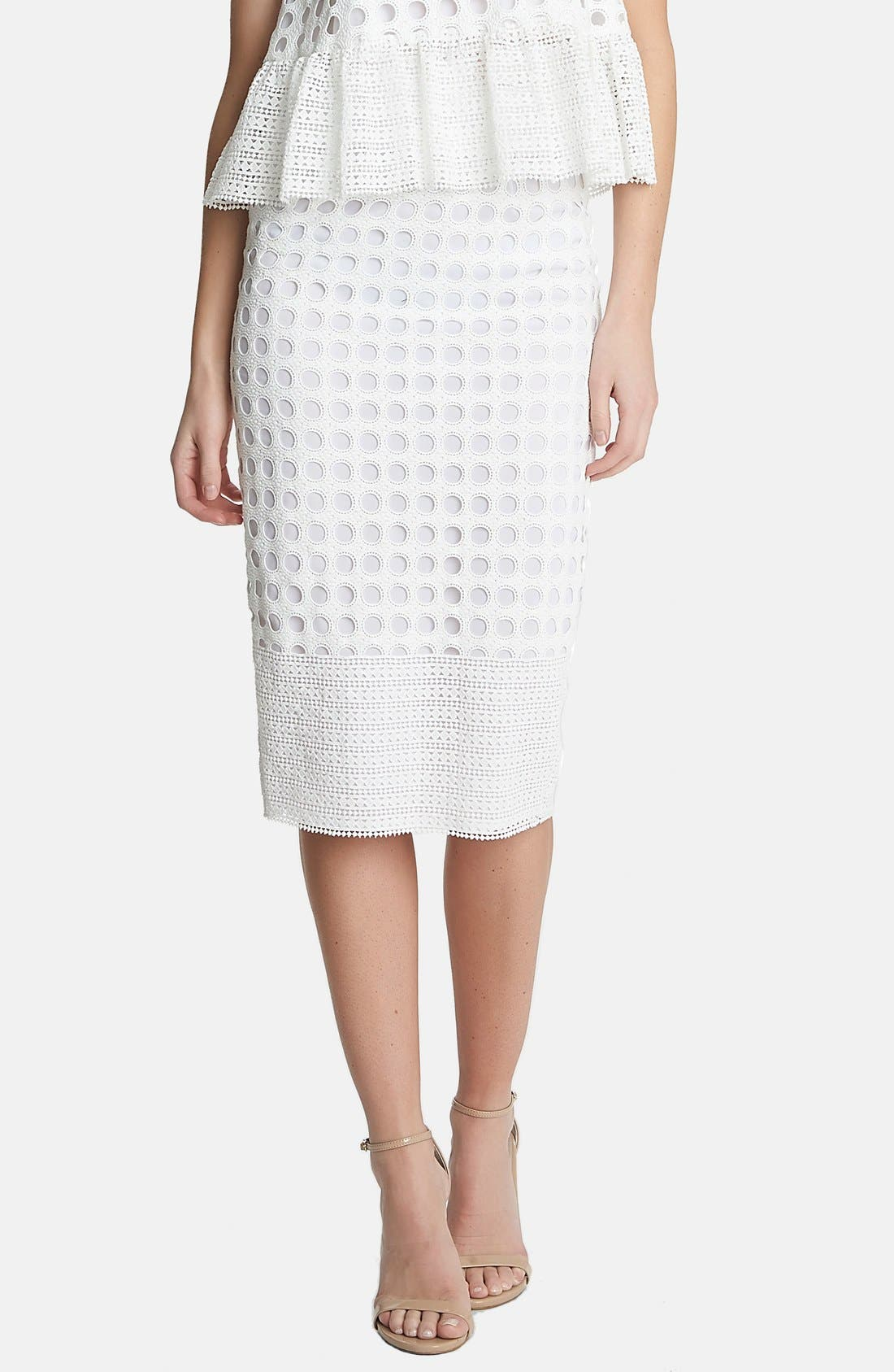 Alternate Image 1 Selected - 1.STATE Geo Lace Midi Skirt
