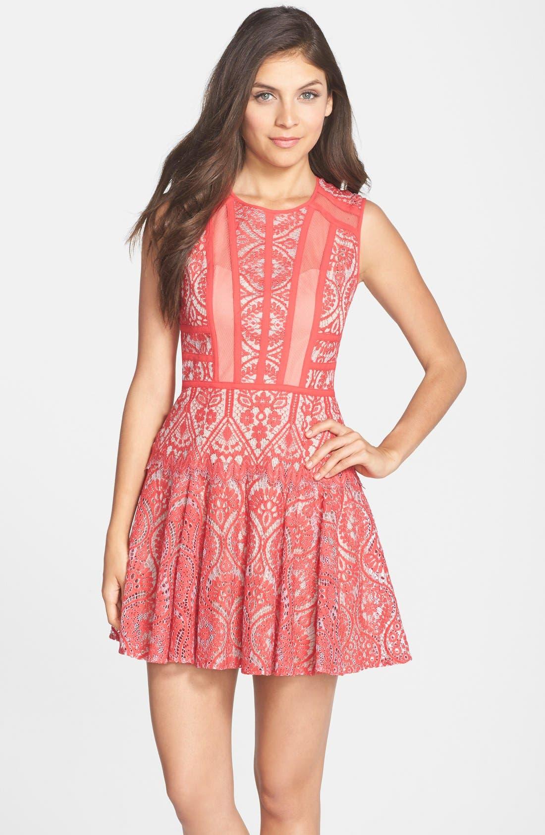 Main Image - BCBGMAXAZRIA 'Shira' Knit Lace Fit & Flare Dress