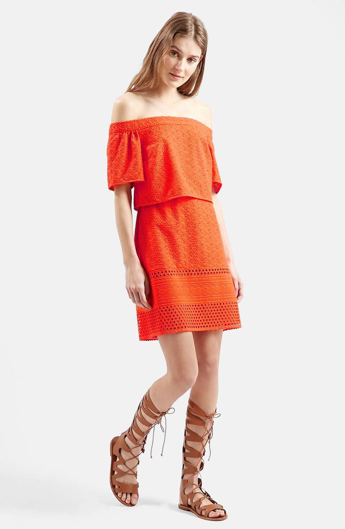 Alternate Image 3  - Topshop Embroidered Off the Shoulder Dress
