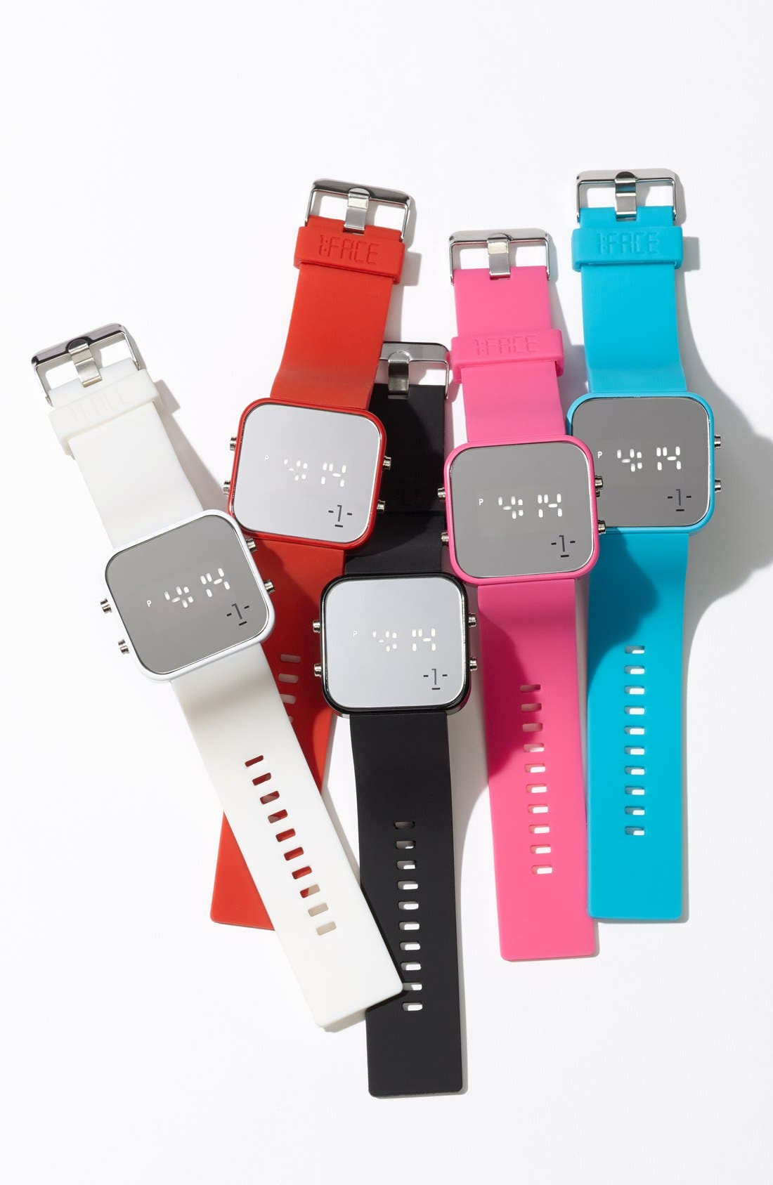 Alternate Image 6  - 1:Face 'AIDS' Square Digital Silicone Strap Watch, 38mm