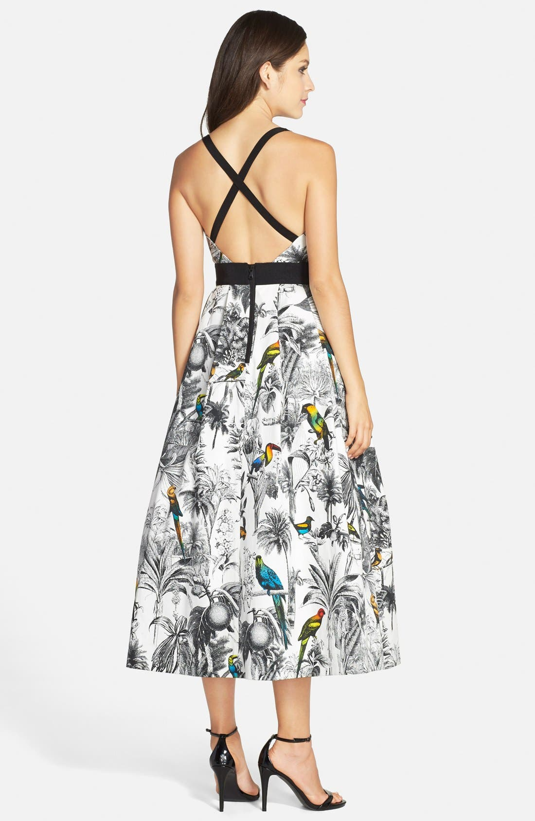 Alternate Image 2  - Milly Tropical Print Cross Back Fit & Flare Midi Dress