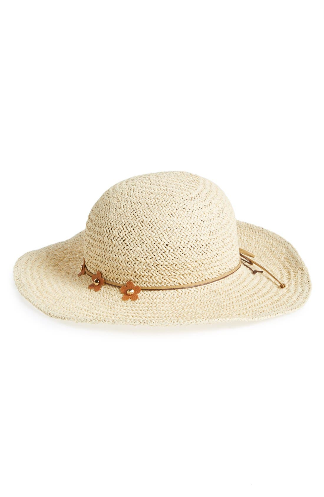 Main Image - David & Young Floppy Straw Hat with Floral Band