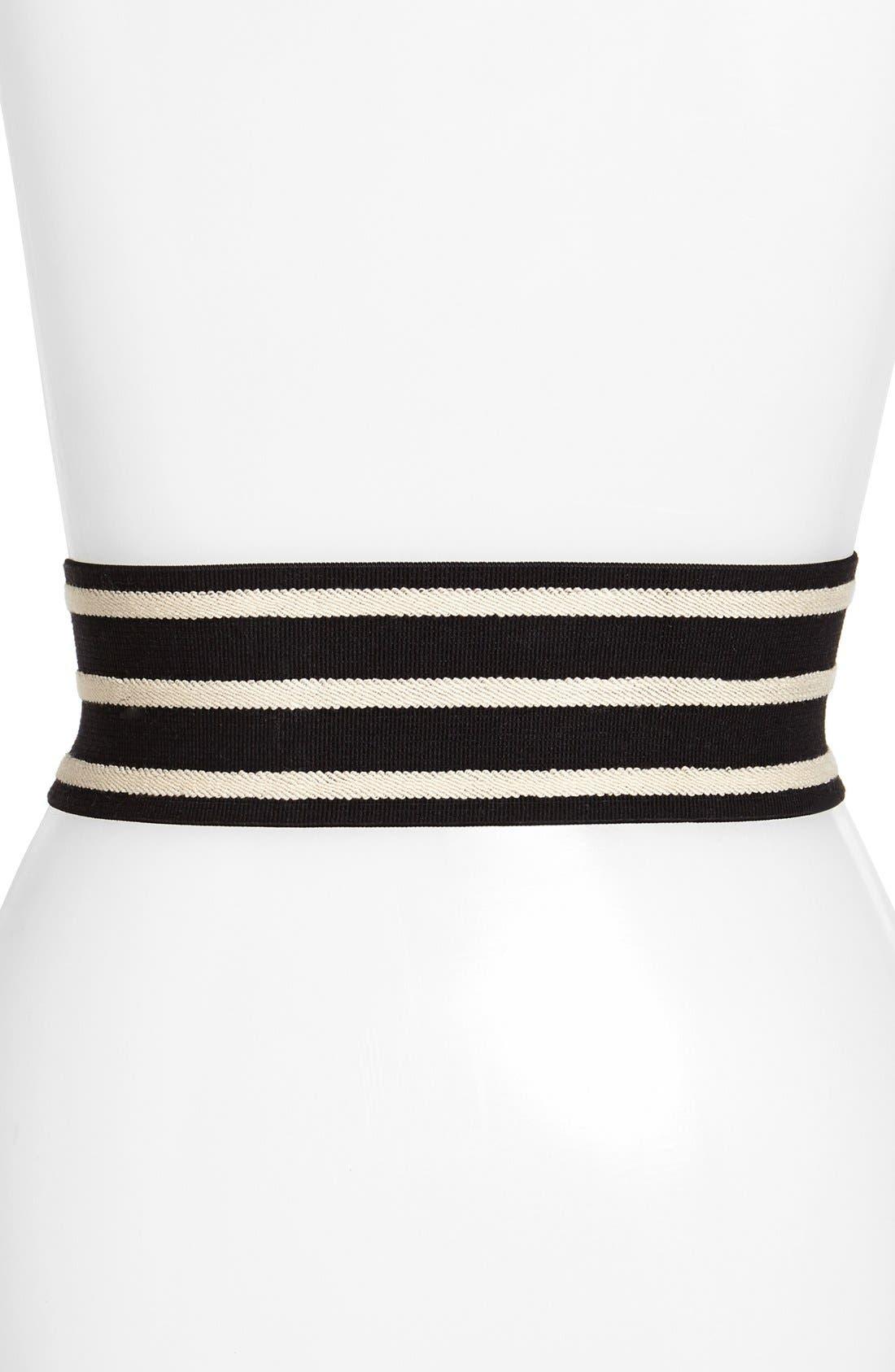 Alternate Image 2  - Lauren Ralph Lauren Stripe Elastic & Leather Belt