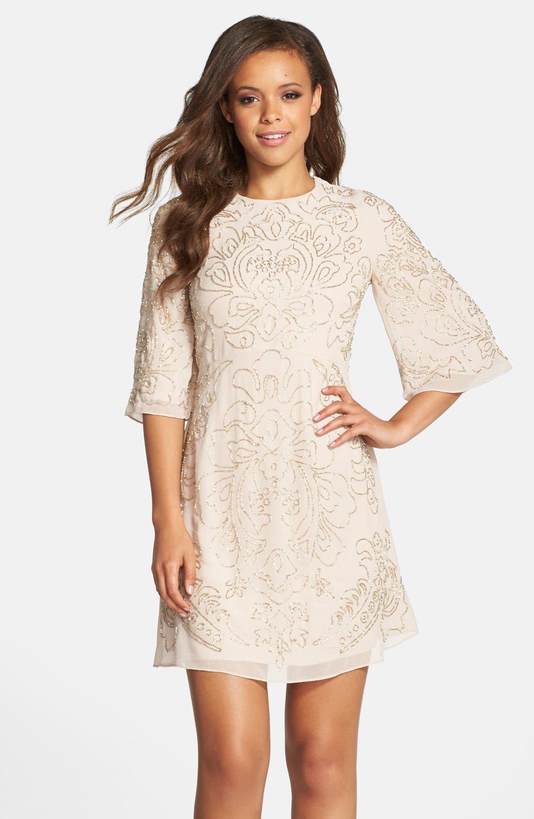 Main Image - Needle & Thread Beaded Georgette Bell Sleeve Shift Dress