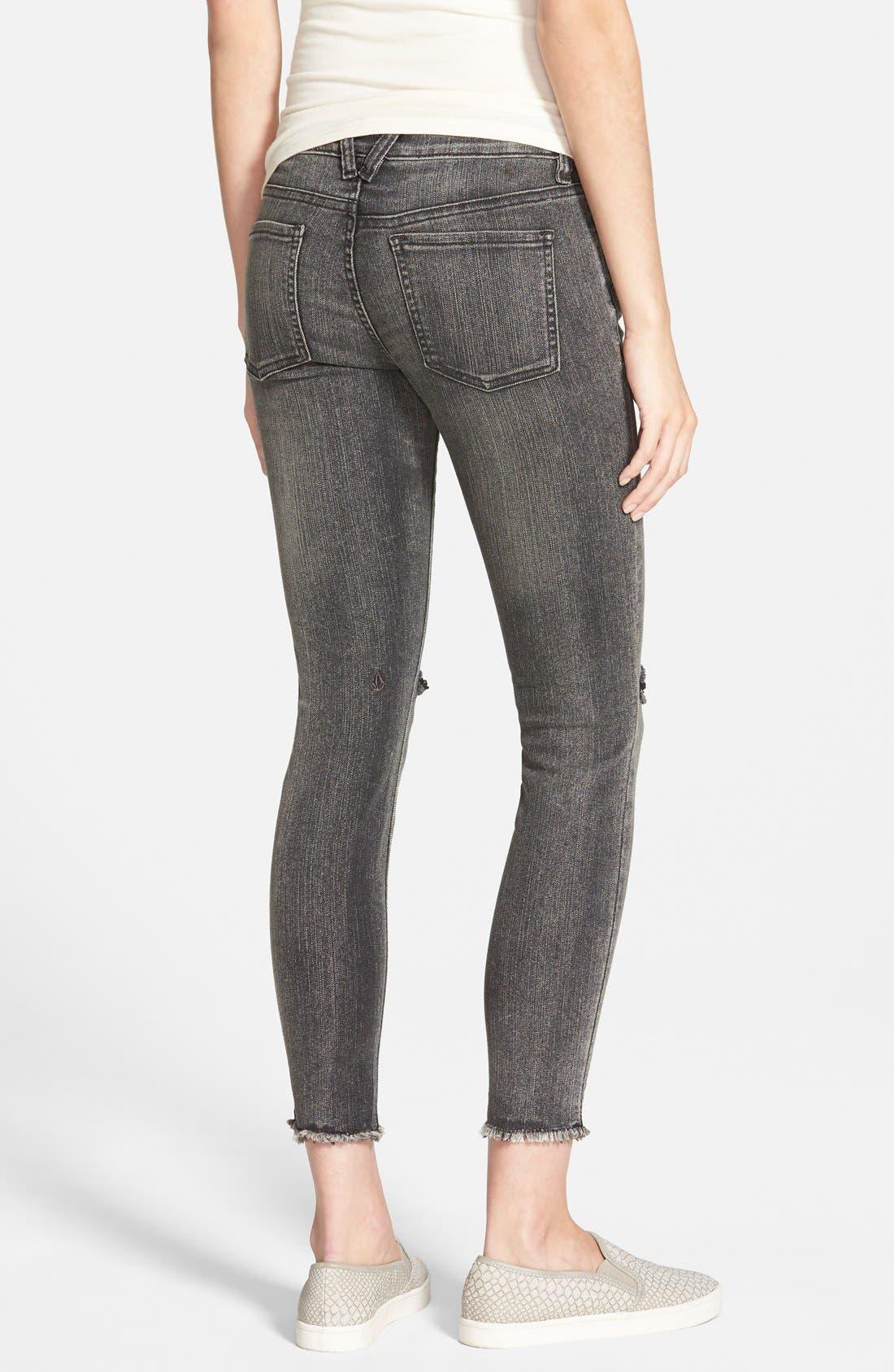 Alternate Image 2  - Volcom Destroyed Cropped Jeans (Gunmetal Grey)