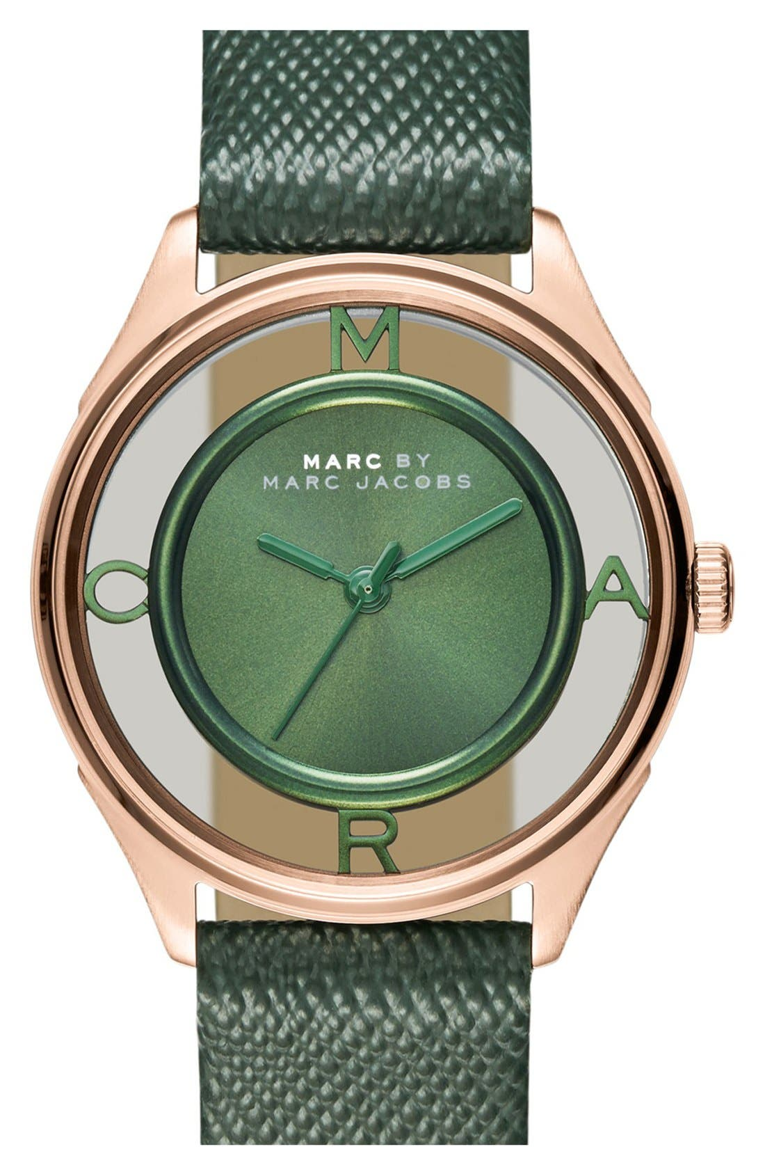 Main Image - MARC JACOBS 'Tether' Skeleton Leather Strap Watch, 25mm