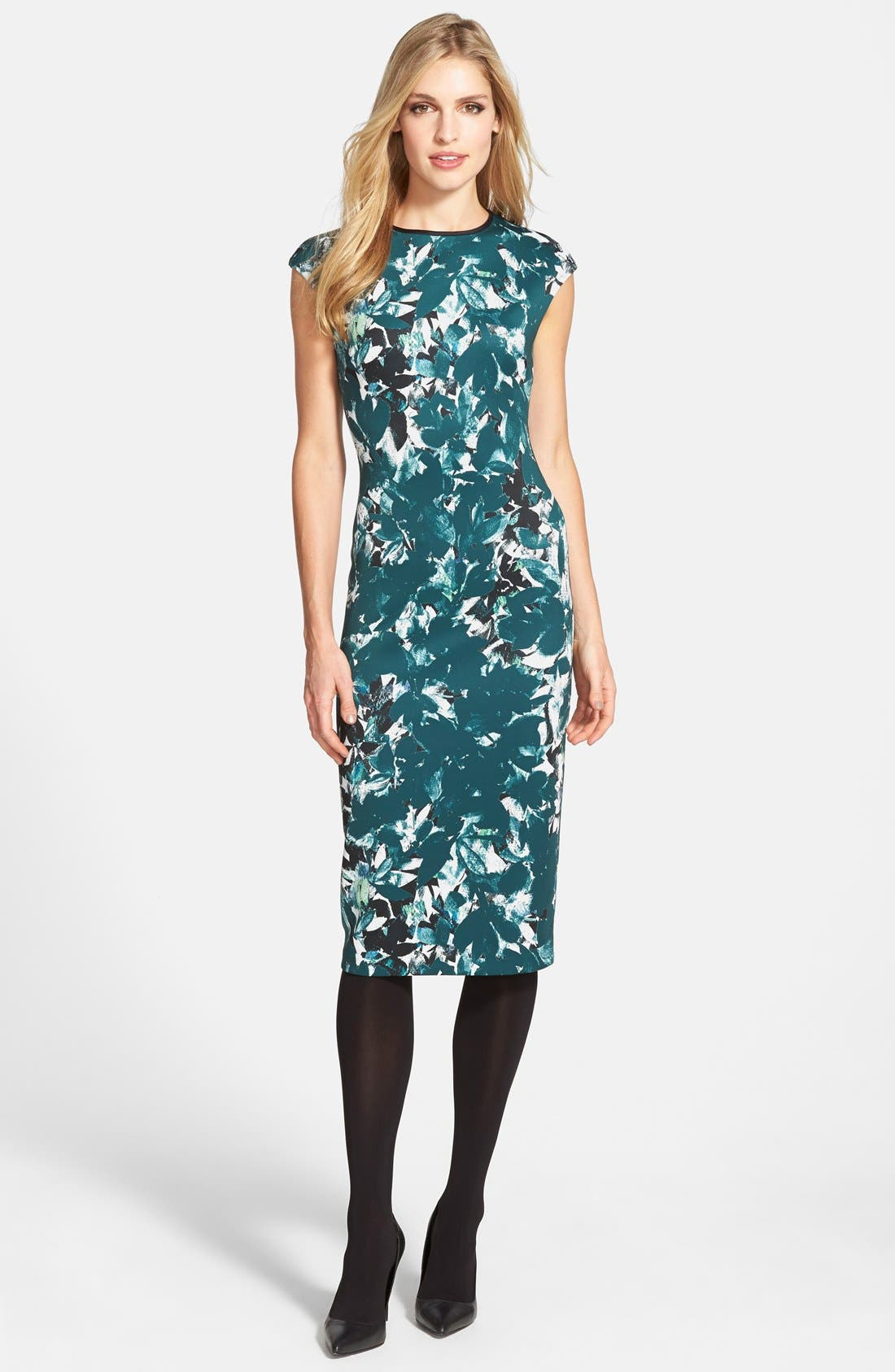 Alternate Image 4  - Maggy London 'Shadow Branch' Print Scuba Midi Dress (Regular & Petite)