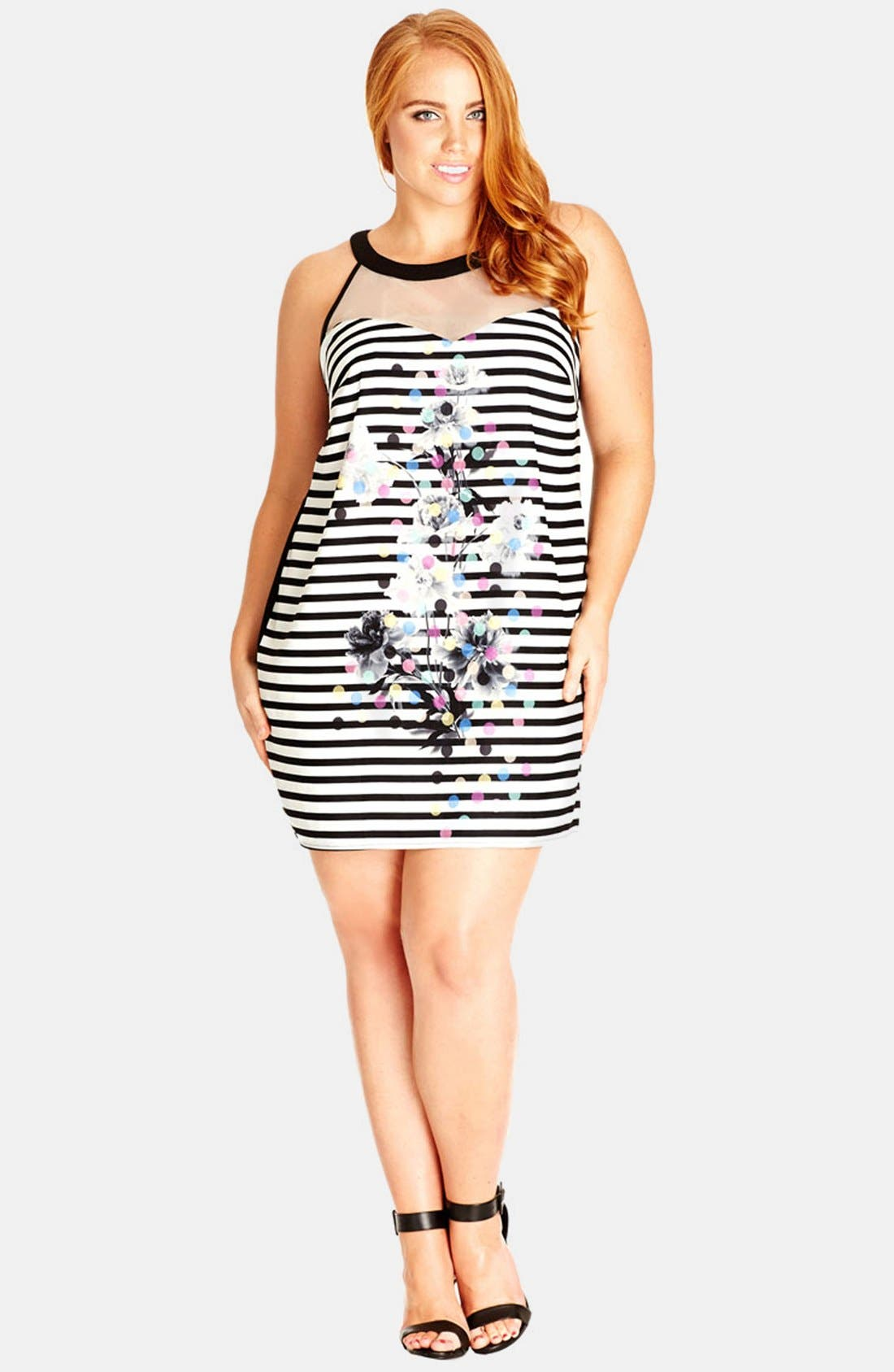 Alternate Image 1 Selected - City Chic '60s Floral' Print Front Sleeveless Shift Dress (Plus Size)