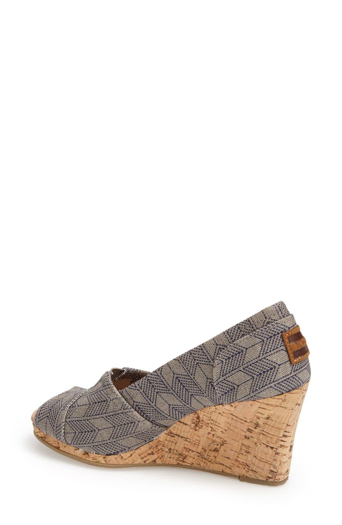 Alternate Image 2  - TOMS 'Classic - Shashiko' Woven Wedge Sandal (Women)