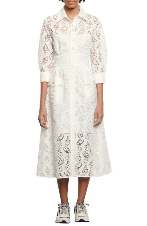 산드로 에이라인 원피스 Sandro Lace A-Line Dress,white