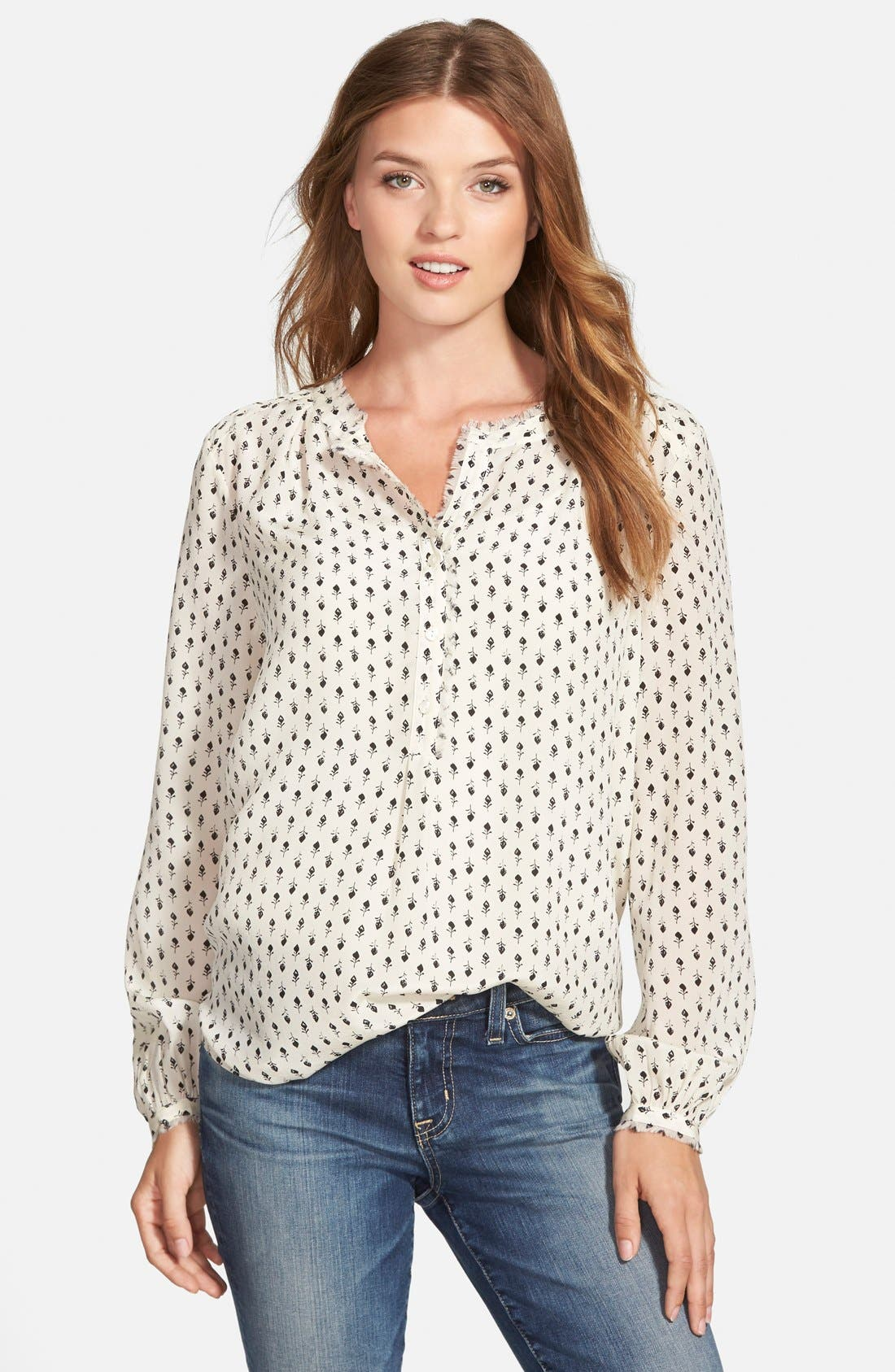 Main Image - Lucky Brand 'Woodstamp' Print Silk Shirt
