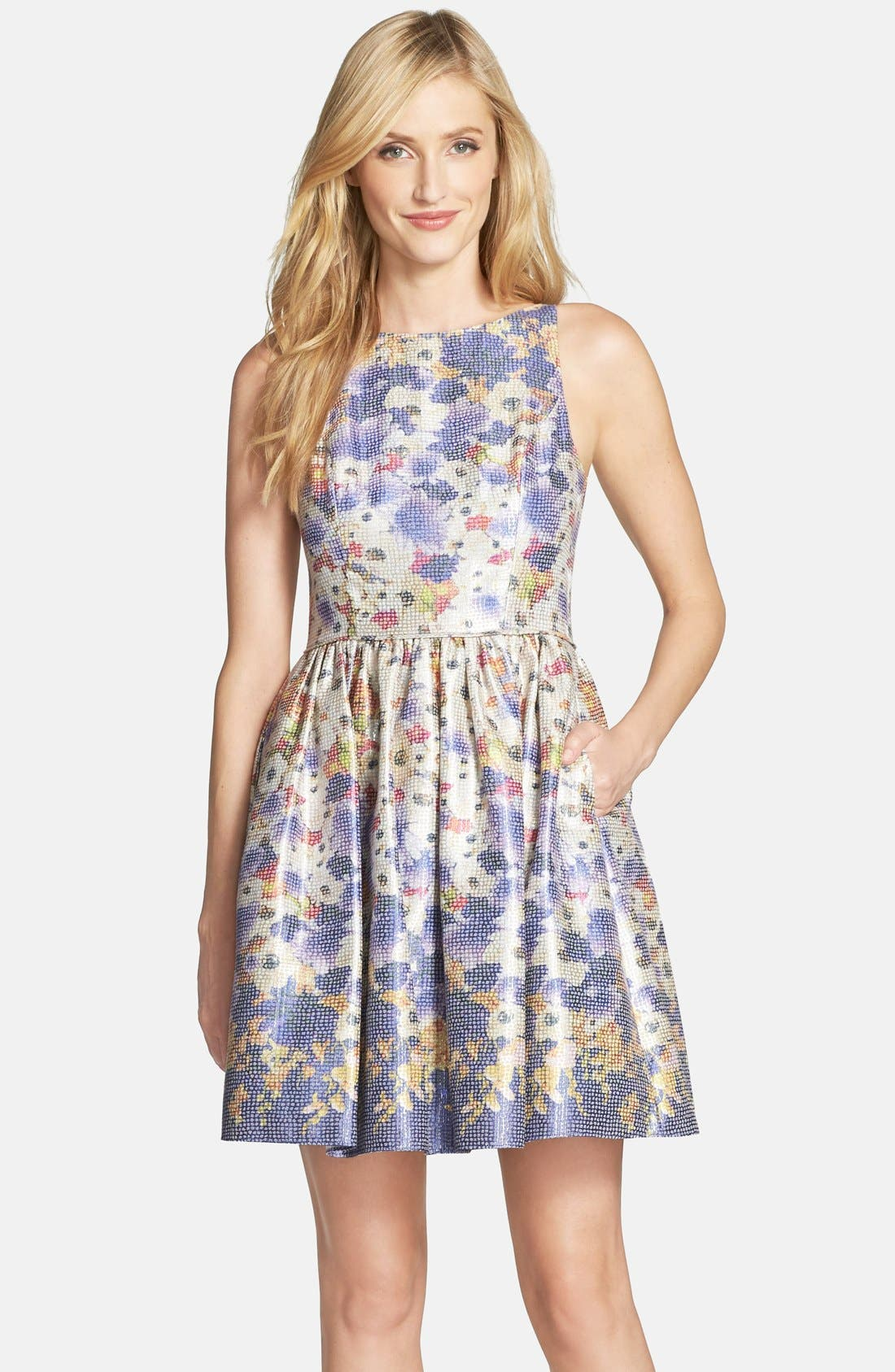 Main Image - Adrianna Papell Floral Jacquard Fit & Flare Dress