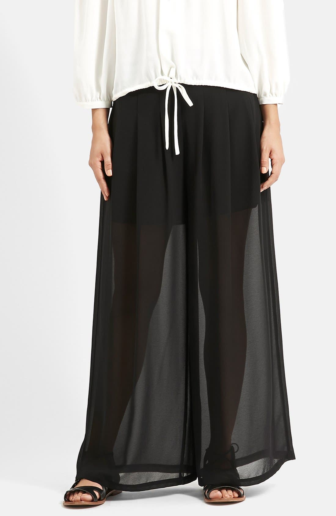 Main Image - KENDALL + KYLIE at Topshop Wide Leg Palazzo Trousers