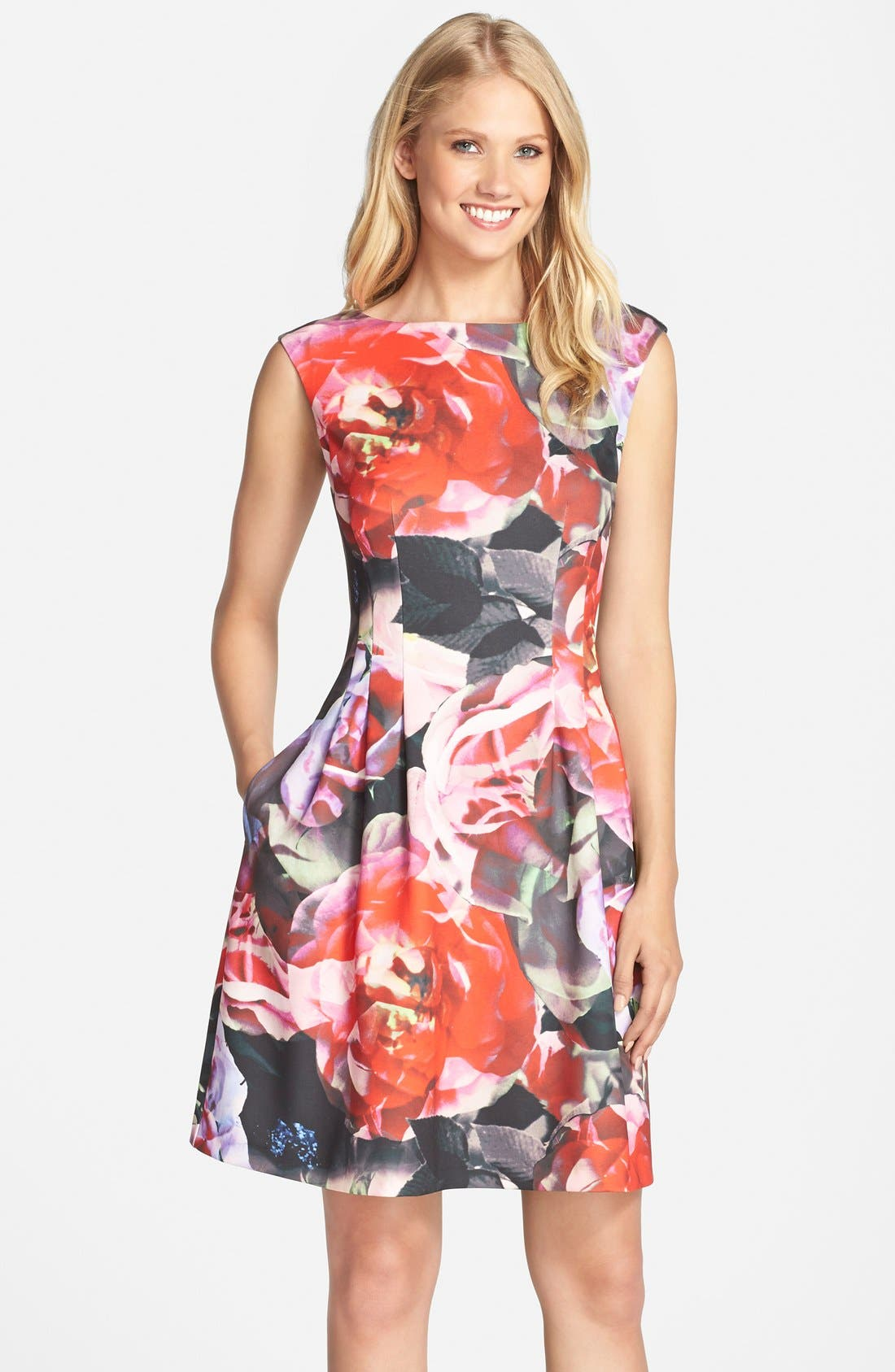 Alternate Image 1 Selected - Vince Camuto Floral Print Scuba Fit & Flare Dress (Regular & Petite)