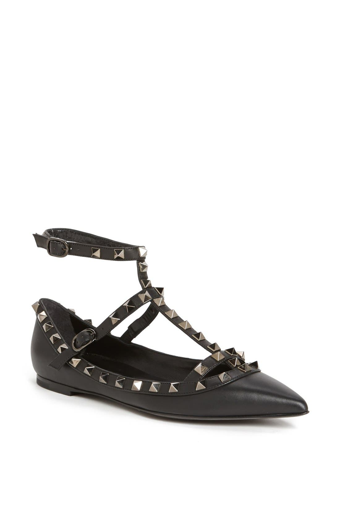 Valentino 'Rockstud' Double Ankle Strap Pointy Toe Flat