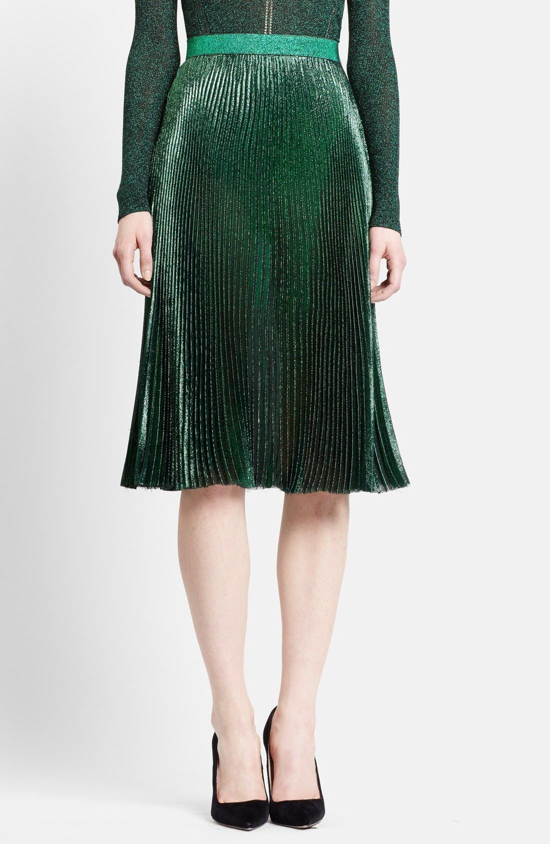 Main Image - Christopher Kane Lamé Pleated Midi Skirt