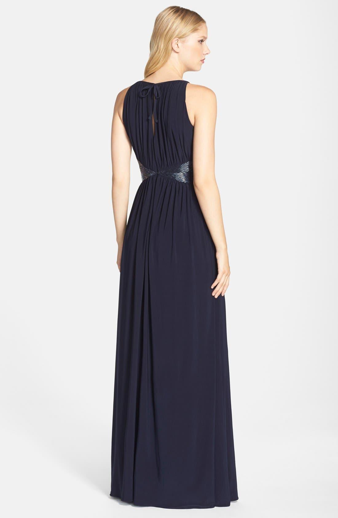 Alternate Image 2  - JS Boutique Beaded Waist Jersey Gown