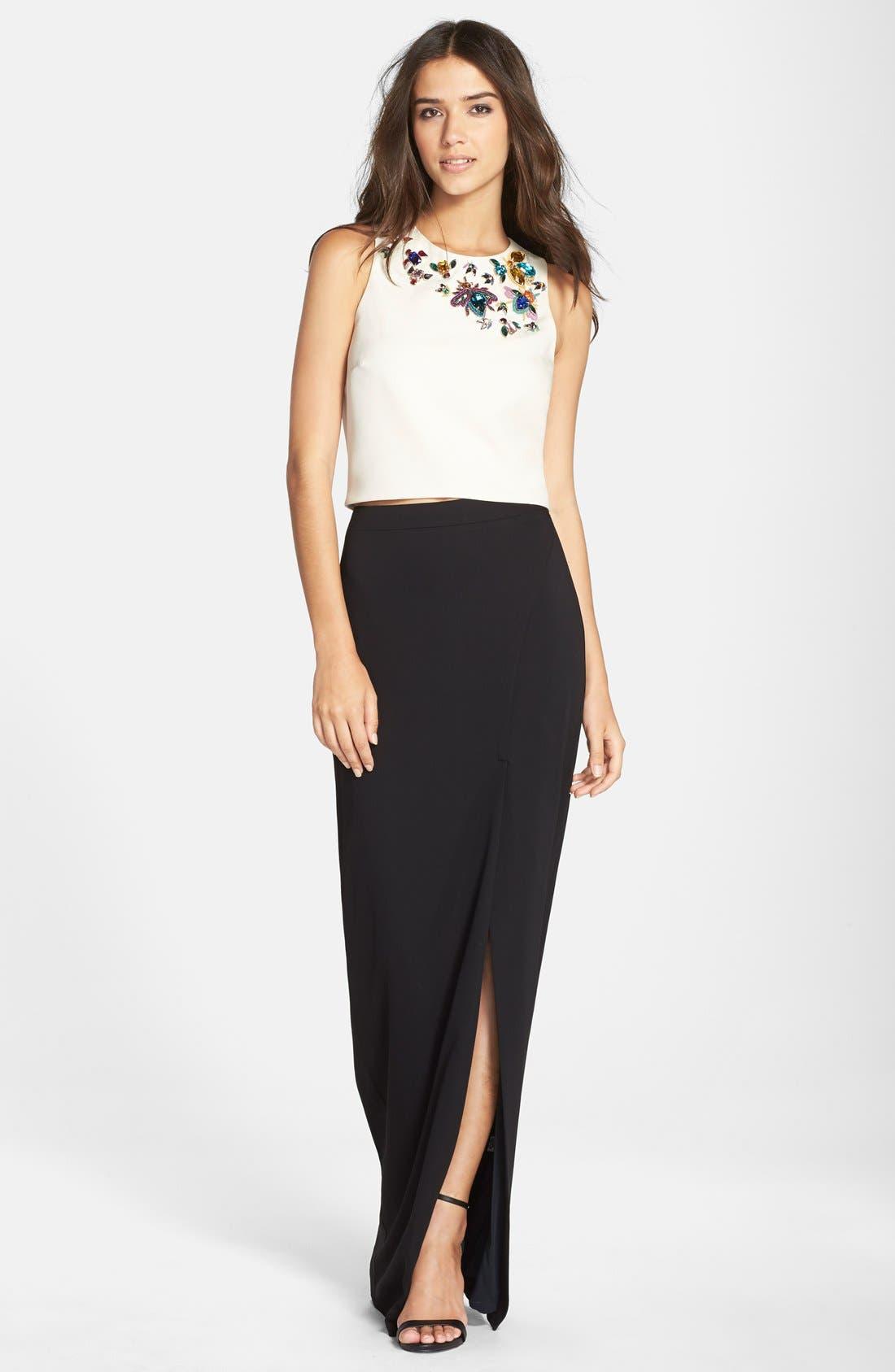 Alternate Image 4  - Nicole Miller Front Slit Stretch Crepe Maxi Skirt