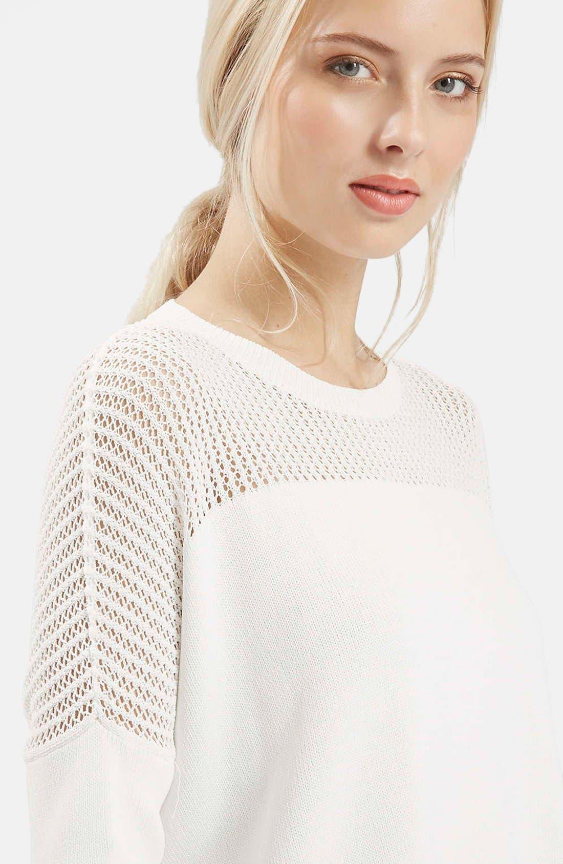 Alternate Image 4  - Topshop Paneled Pointelle Sweater