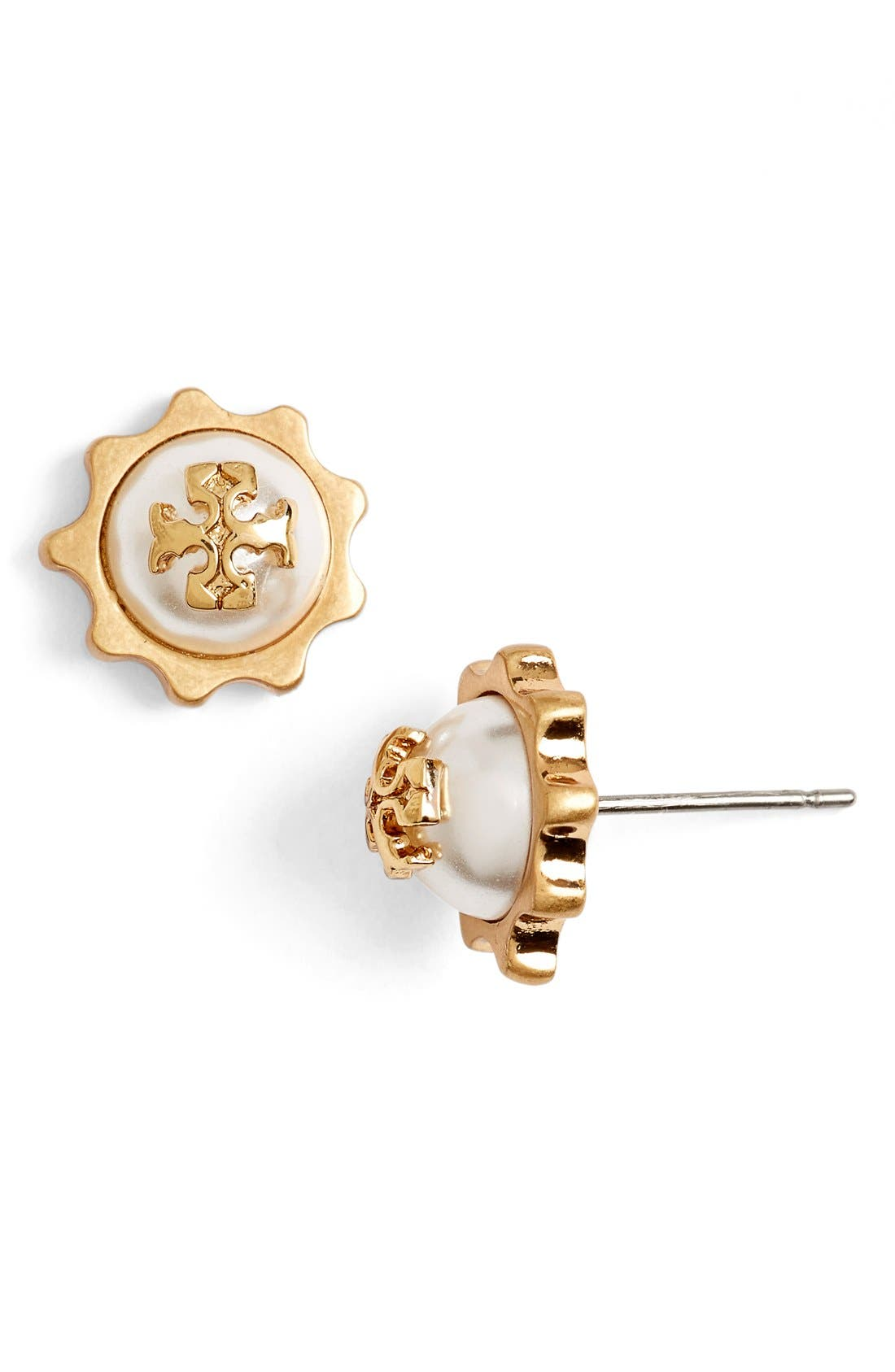 Alternate Image 2  - Tory Burch Logo Faux Pearl Gear Stud Earrings