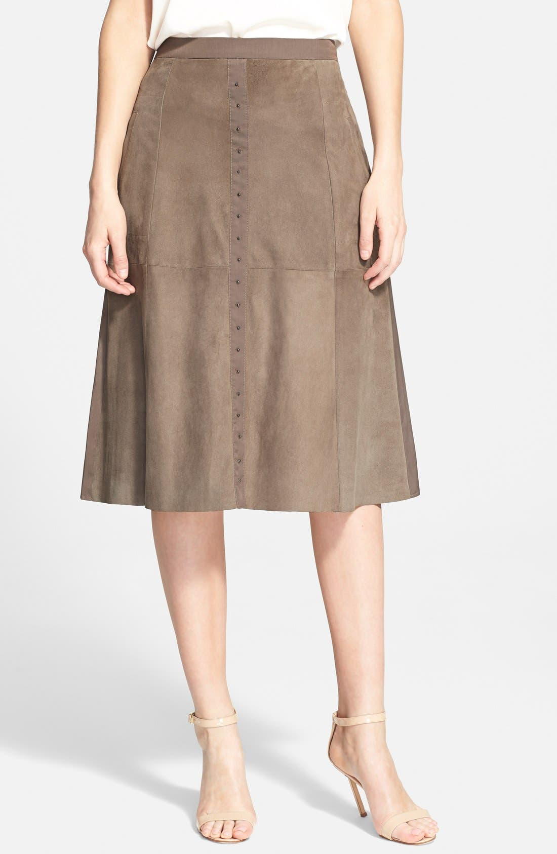 Alternate Image 1 Selected - Halston Heritage Studded Suede Front Midi Skirt