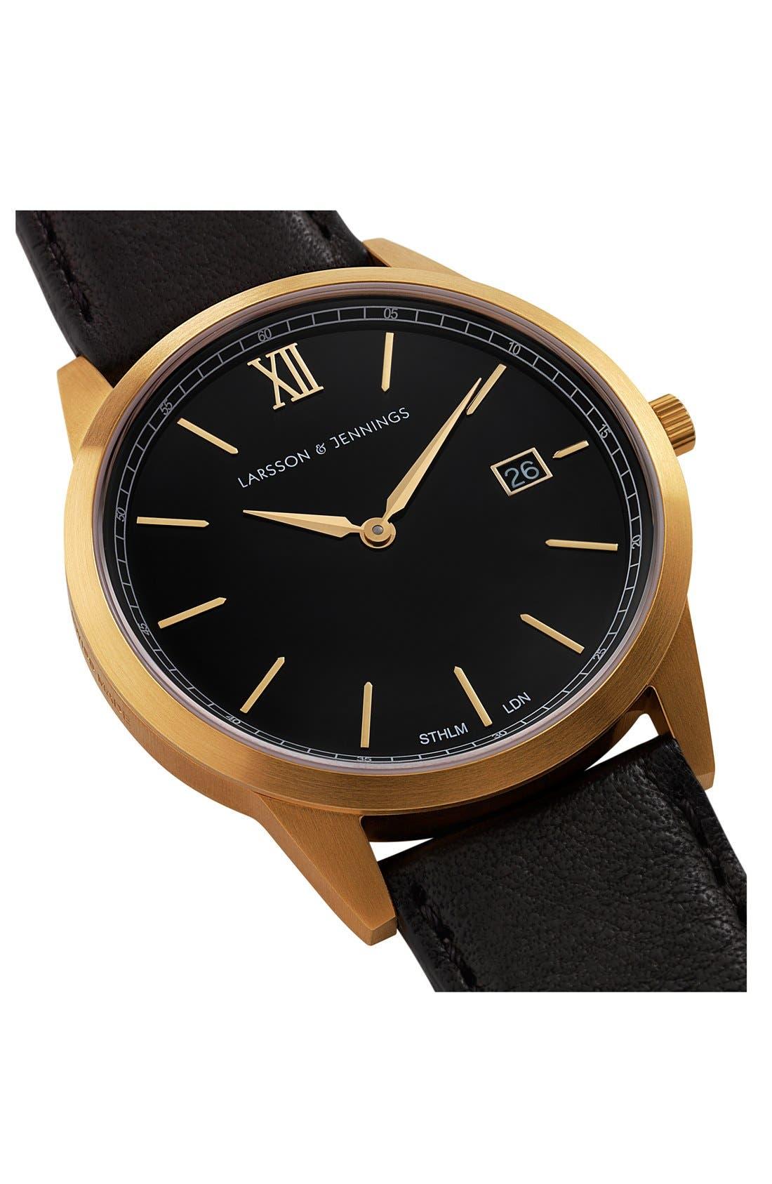 Alternate Image 4  - Larsson & Jennings 'Saxon' Leather Strap Watch, 39mm