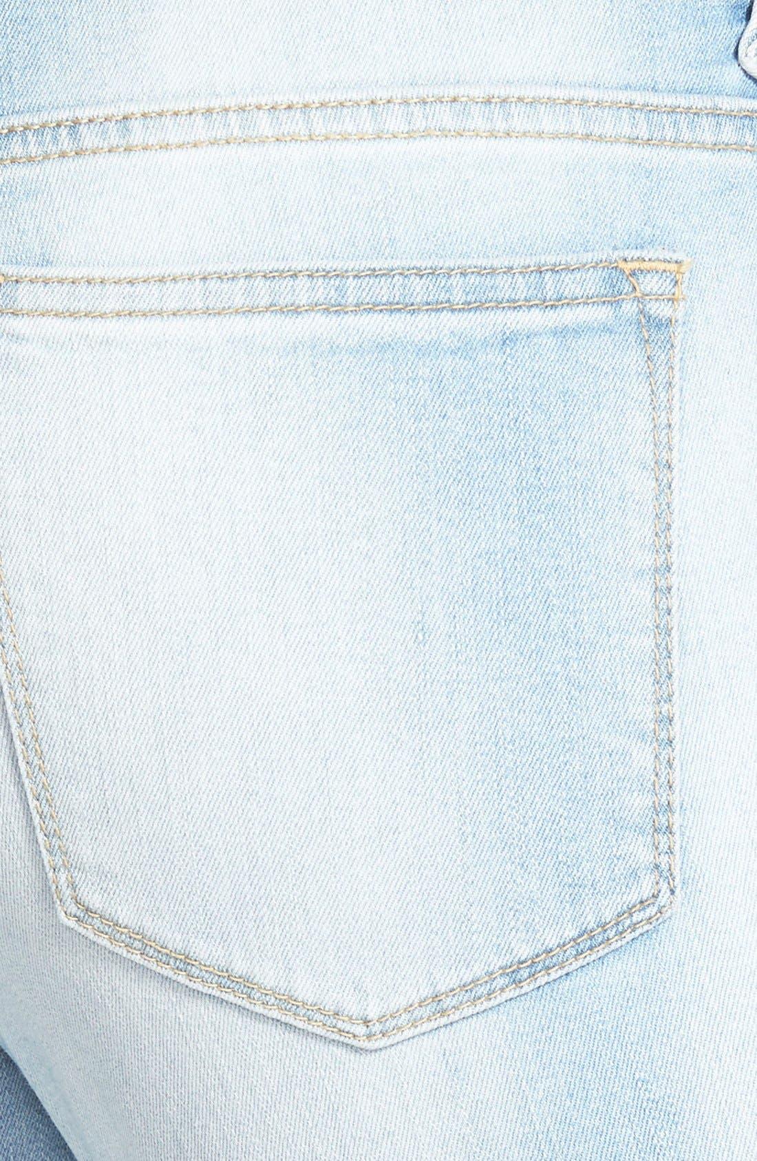 Alternate Image 3  - SP Black Distressed Crop Skinny Jeans (Light Wash)