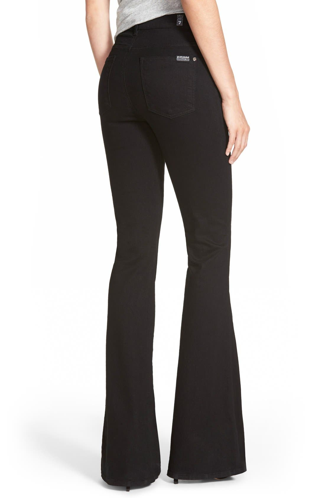 Alternate Image 2  - 7 For All Mankind® High Rise Flare Jeans (Overdyed Black)