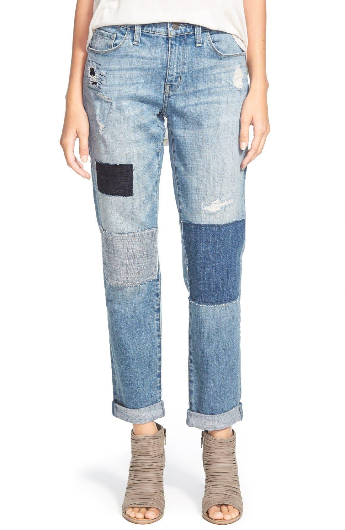 Alternate Image 1 Selected - Treasure&Bond Boyfriend Jeans (Rustic Light Patched)