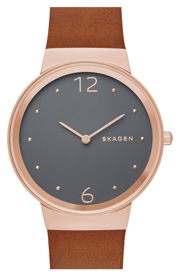 Skagen 39 freja 39 leather strap watch 34mm nordstrom for Leather strap watches